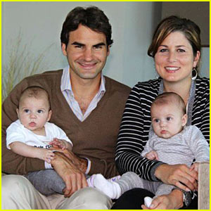 The Federer Twins are now a bit older, and less likely to distract Dad.
