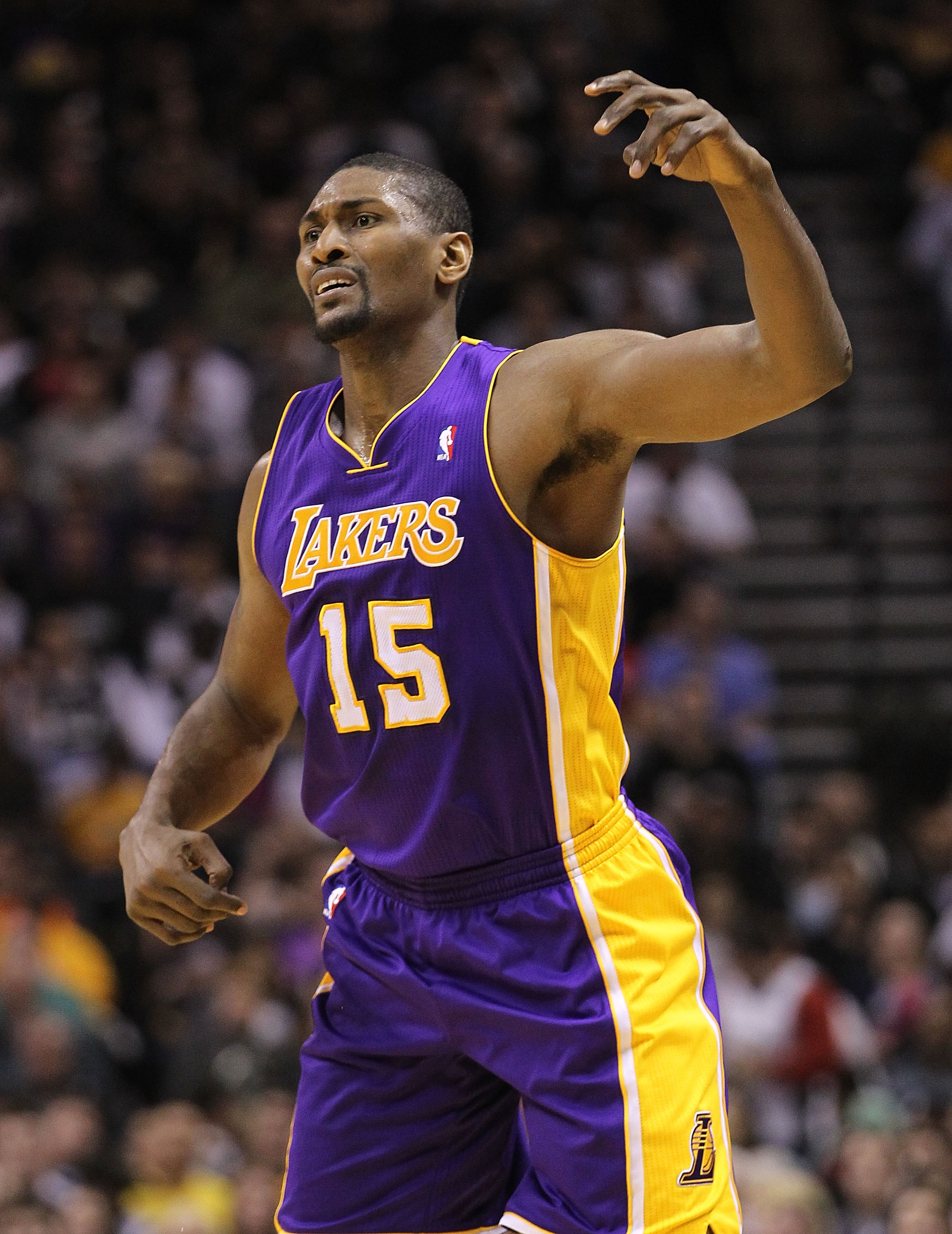 SAN ANTONIO, TX - DECEMBER 28:  Forward Ron Artest #15 of the Los Angeles Lakers at AT&T Center on December 28, 2010 in San Antonio, Texas.  NOTE TO USER: User expressly acknowledges and agrees that, by downloading and/or using this photograph, user is co