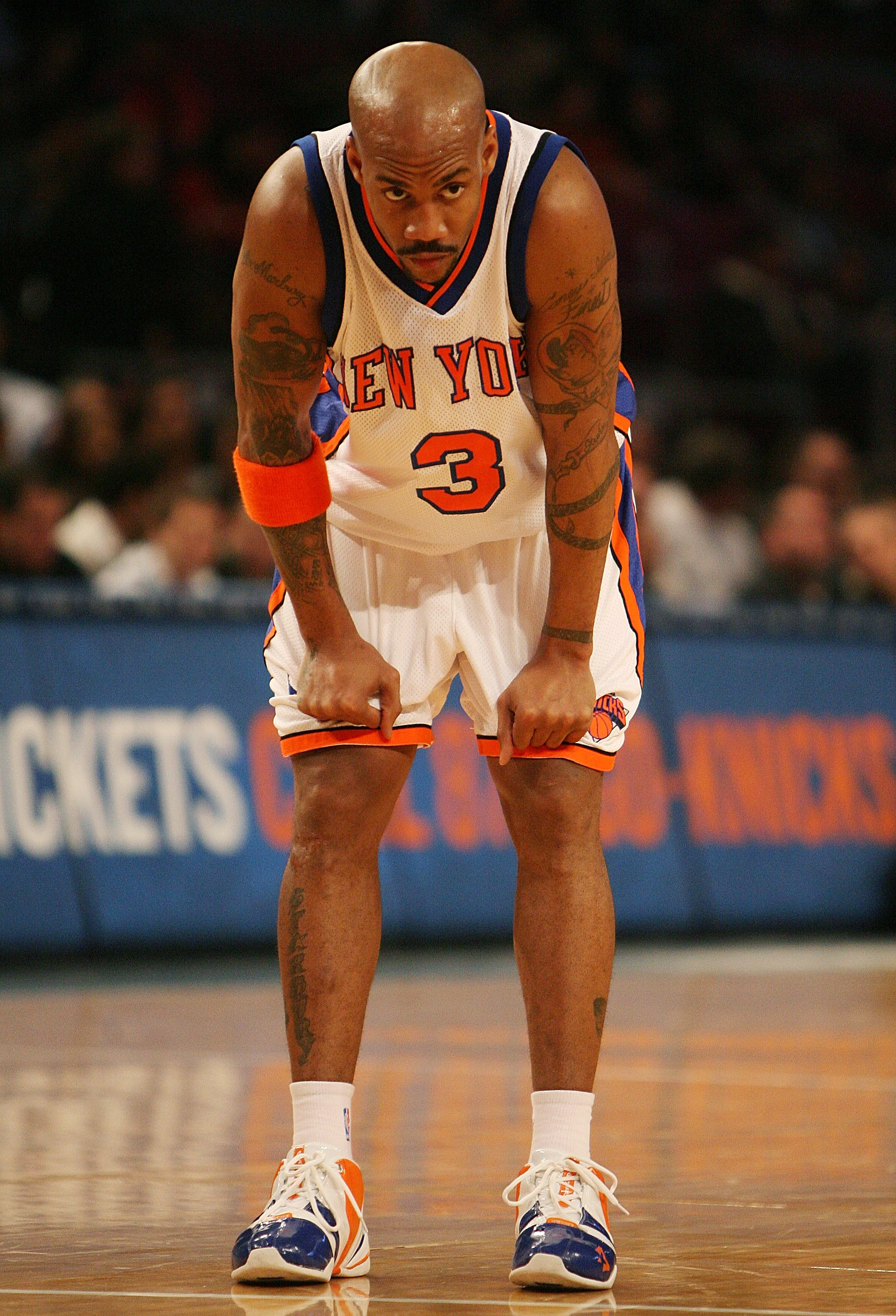 NEW YORK - JANUARY 02:  Stephon Marbury #3 of the New York Knicks waits for a free throw against the Sacramento Kings on January 2, 2008 at Madison Square Garden in New York City. NOTE TO USER: User expressly acknowledges and agrees that, by downloading a