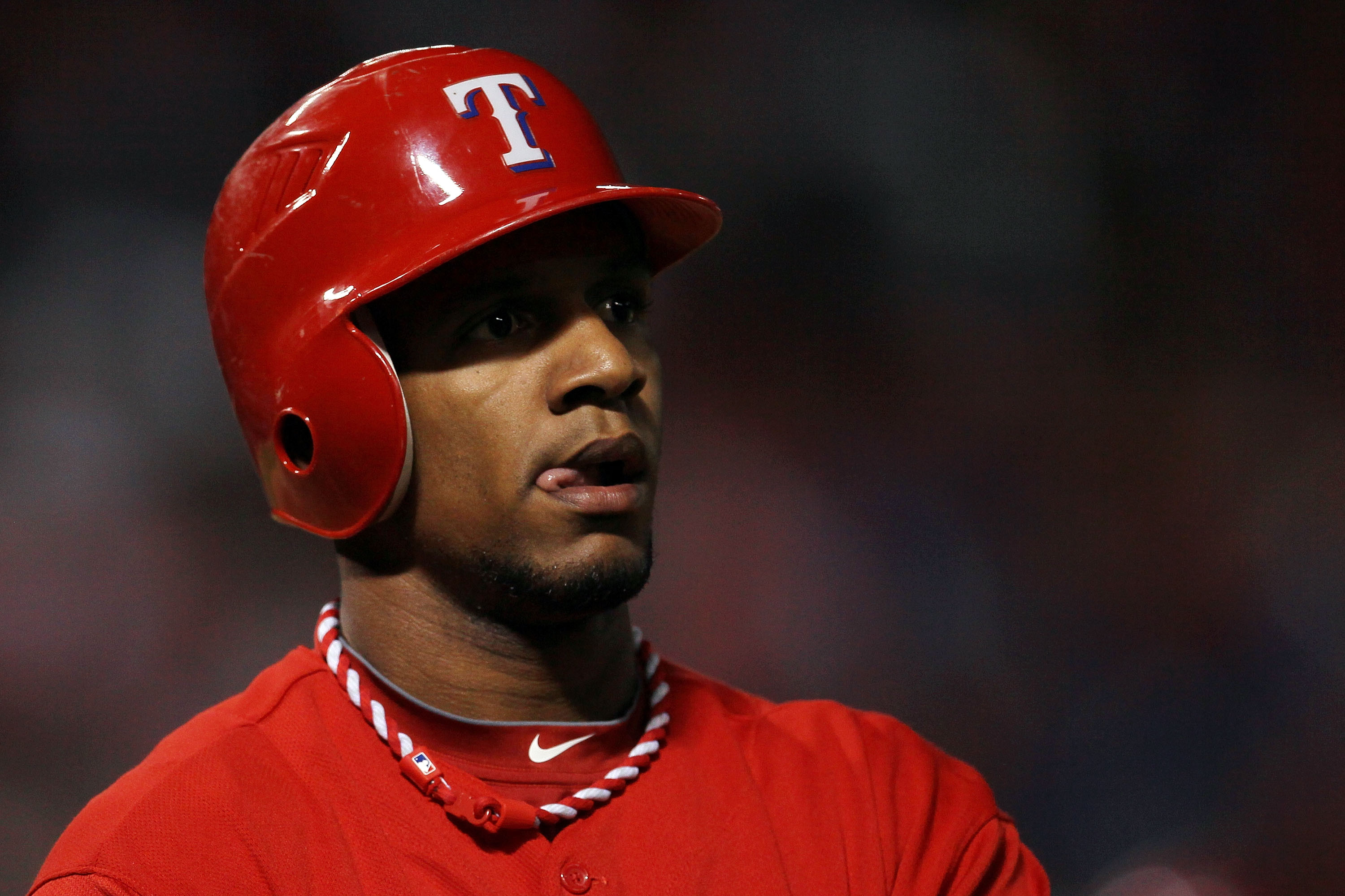 ARLINGTON, TX - OCTOBER 15:  Julio Borbon #29 of the Texas Rangers looks on after striking out against the New York Yankees in Game One of the ALCS during the 2010 MLB Playoffs at Rangers Ballpark in Arlington on October 15, 2010 in Arlington, Texas.  (Ph
