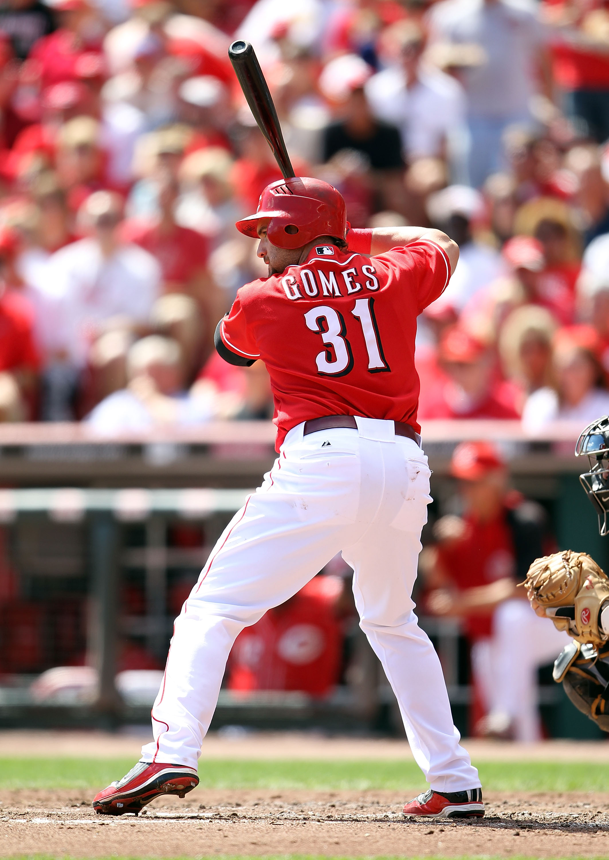 CINCINNATI - SEPTEMBER 12:  Jonny Gomes #31 of  the Cincinnati Reds is at bat during the game against the Pittsburgh Pirates at Great American Ballpark on September 12, 2010 in Cincinnati, Ohio.  (Photo by Andy Lyons/Getty Images)