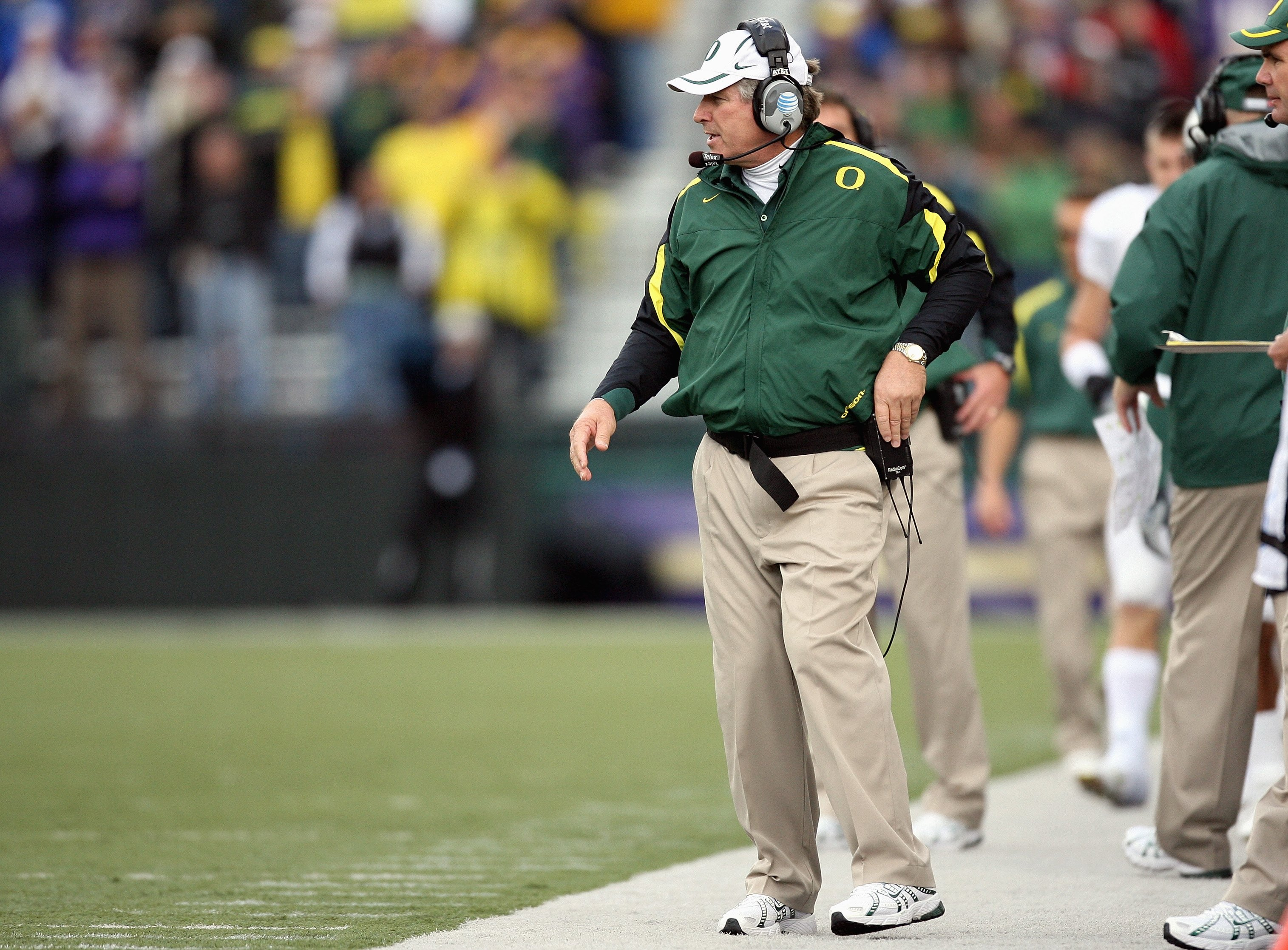 SEATTLE - OCTOBER 20: Head coach Mike Bellotti of the Oregon Ducks walks on sidelines during the game against the Washington Huskies at Husky Stadium on October 20, 2007 in Seattle, Washington. The Ducks defeated the Huskies 55-34. (Photo by Otto Greule J