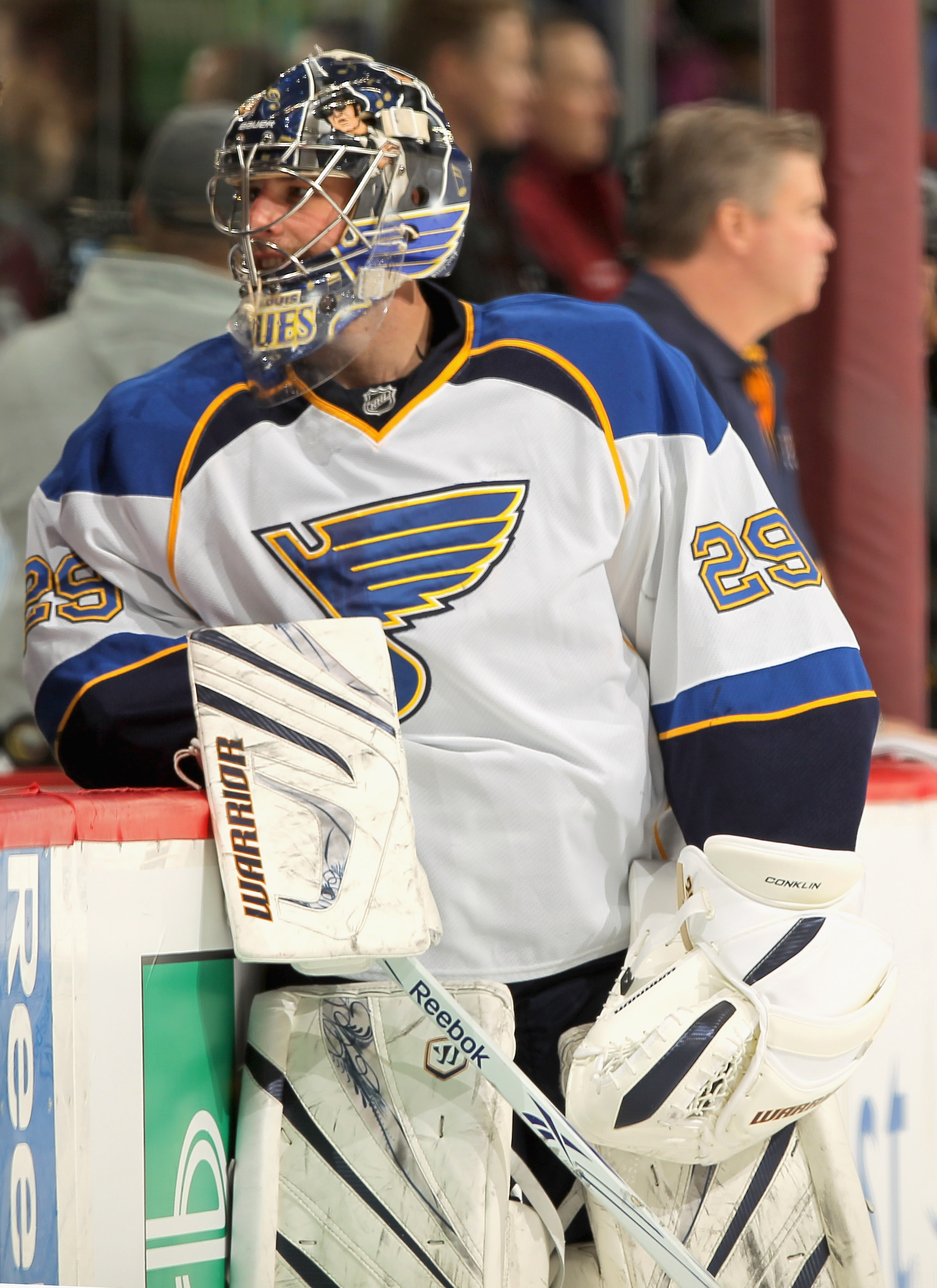 DENVER - NOVEMBER 15:  Goalie Ty Conklin #29 of the St. Louis Blues warms up prior to facing the Colorado Avalanche at the Pepsi Center on November 15, 2010 in Denver, Colorado. The Avalacnhe defeated the Blues 6-3.  (Photo by Doug Pensinger/Getty Images)