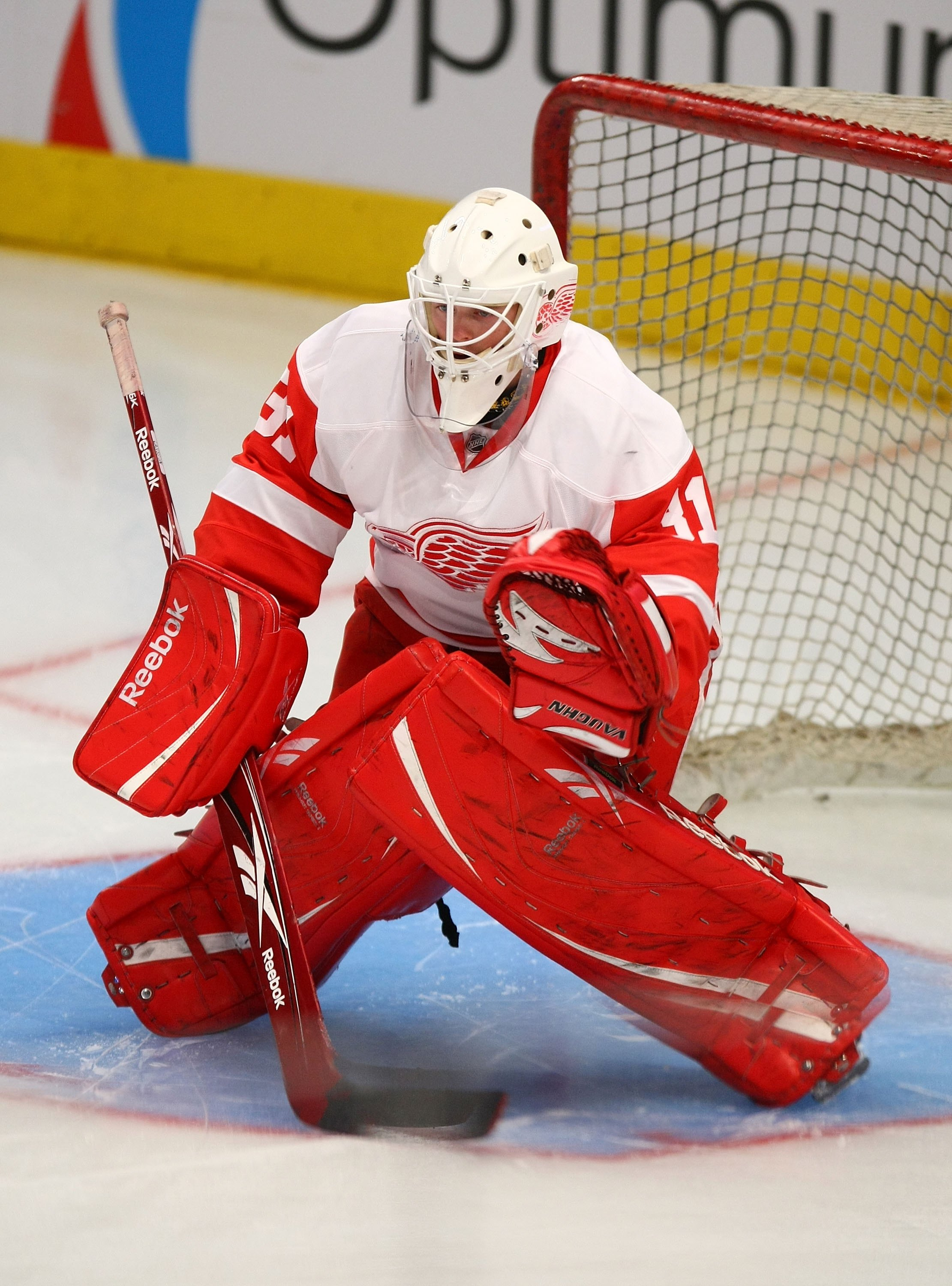 NEW YORK - SEPTEMBER 21:  Daniel Larsson #31 of the Detroit Red Wings tends net in warmups prior to the preseason game against the New York Rangers  at Madison Square Garden on September 21, 2009 in New York, New York.  (Photo by Bruce Bennett/Getty Image