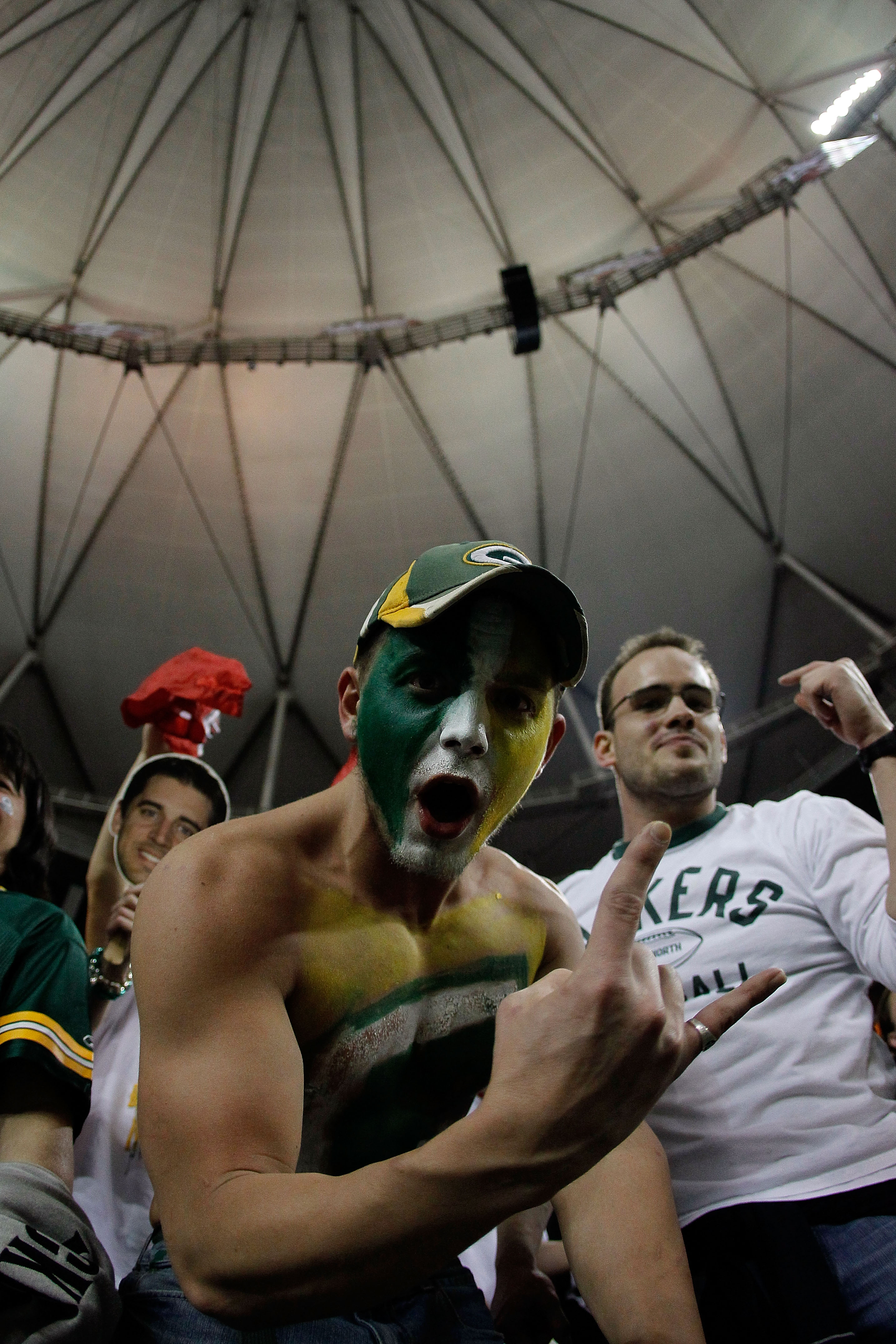 ATLANTA, GA - JANUARY 15:  A fan of  the Green Bay Packers celebrates after the Packers won 48-21 against the Atlanta Falcons during their 2011 NFC divisional playoff game at Georgia Dome on January 15, 2011 in Atlanta, Georgia.  (Photo by Kevin C. Cox/Ge