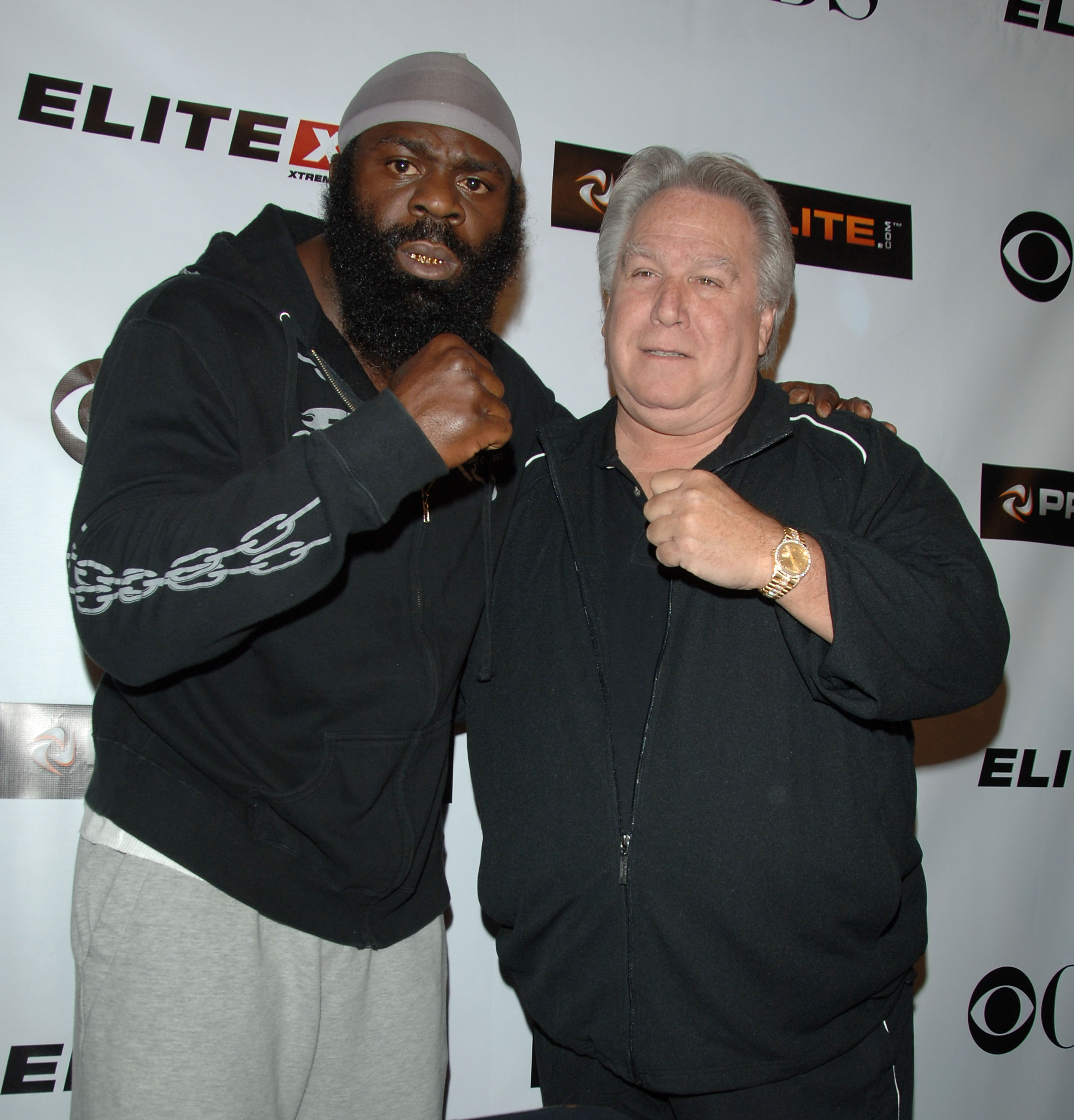 STUDIO CITY, CA - MAY 19:  MMA fighter Kimbo Slice (L) and Live Events President, Elite XC Gary Shaw attend CBS's 'Elite XC Saturday Night Fights' Press Conference at CBS Radford Studios on May 19, 2008 in Studio City, California.  (Photo by Stephen Shuge