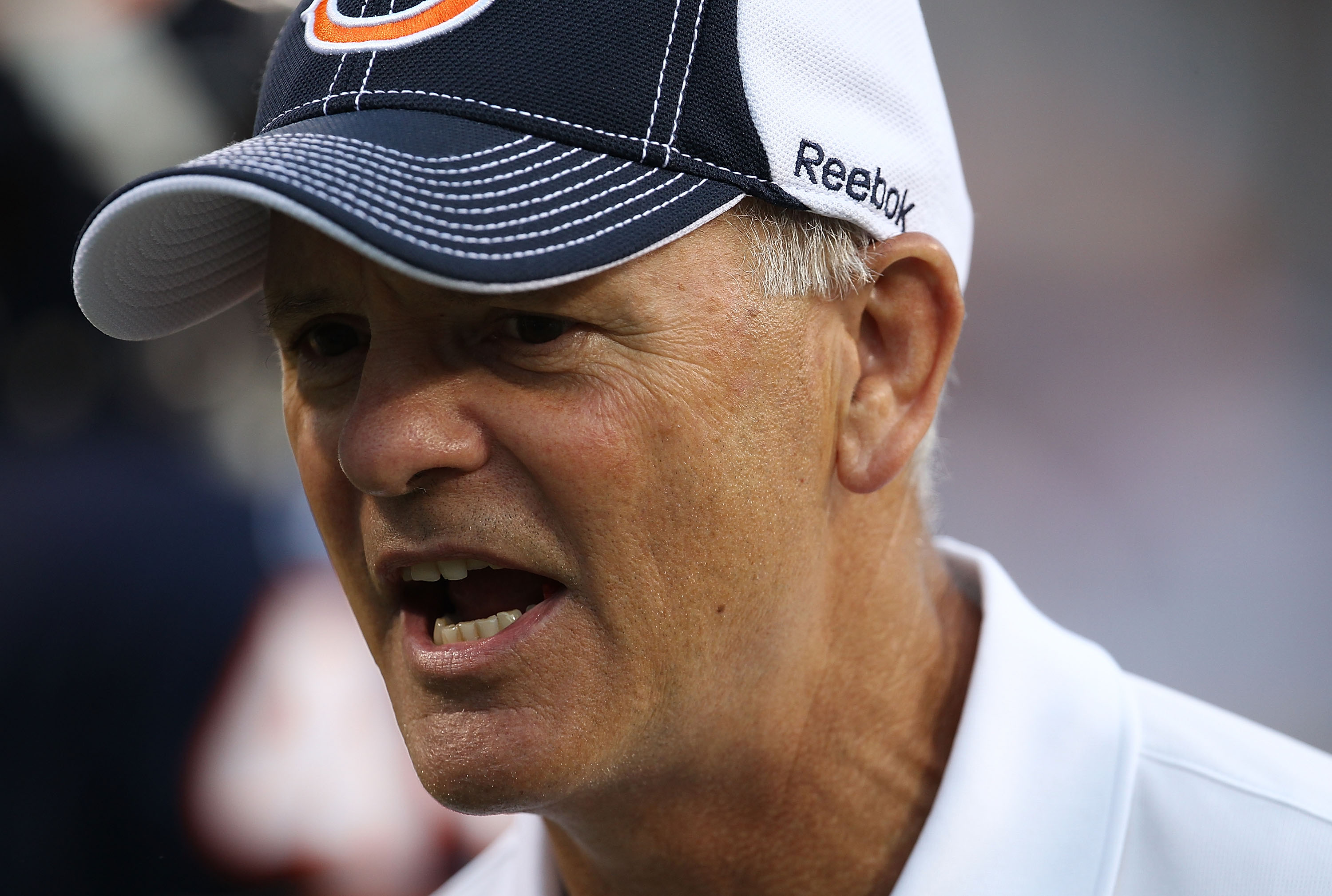CHICAGO - AUGUST 21: Defensive coordinator Rod Marinelli of the Chicago Bears talks to players before a preseason game against the Oakland Raiders at Soldier Field on August 21, 2010 in Chicago, Illinois. The Raiders defeated the Bears 32-17. (Photo by Jo