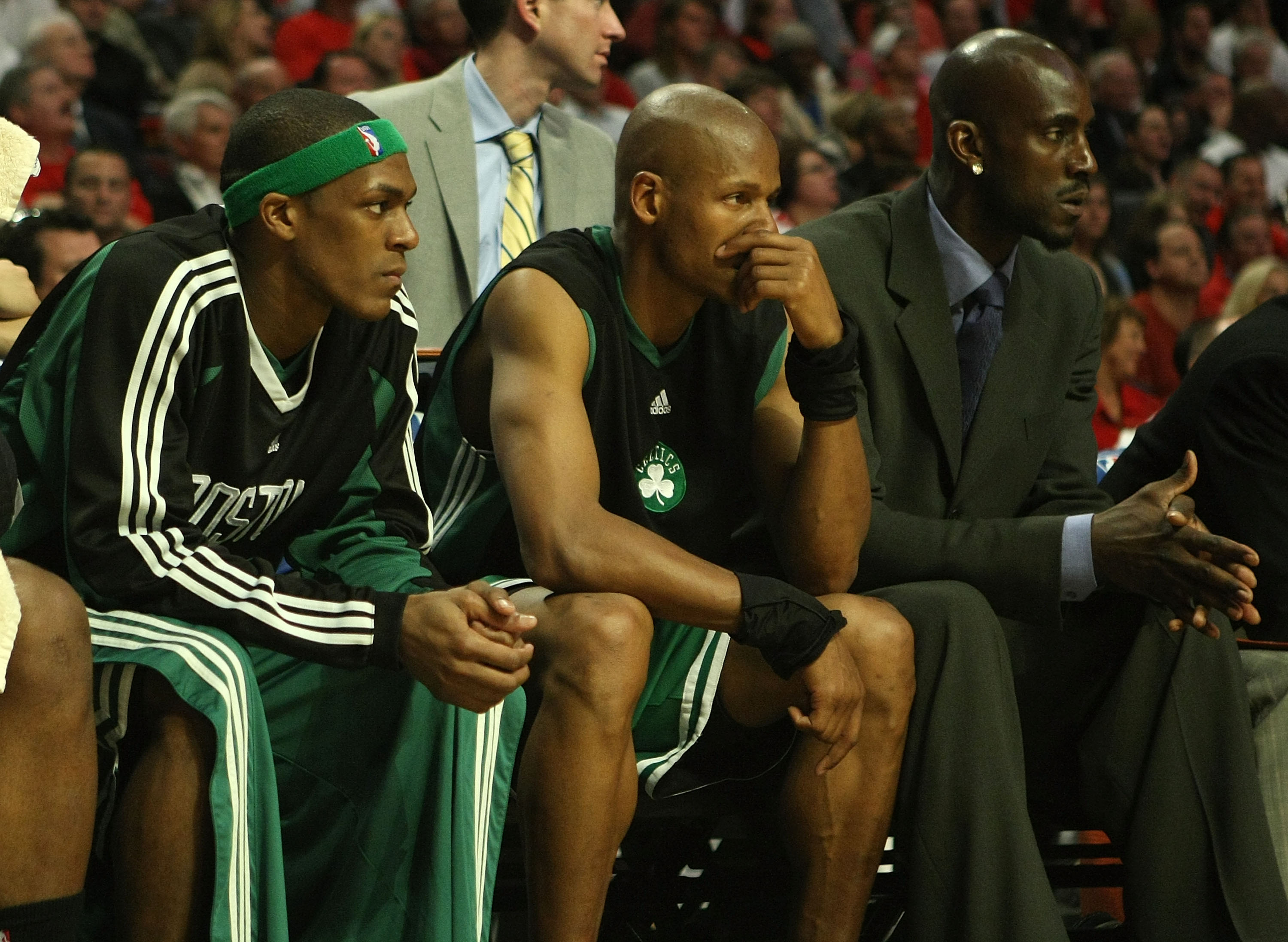 CHICAGO - APRIL 30: Rajon Rondo #9, Ray Allen #20 and Kevin Garnett of the Boston Celtics watch from the bench in Game Six of the Eastern Conference Quarterfinals during the 2009 NBA Playoffs against the Chicago Bulls at the United Center on April 30, 200