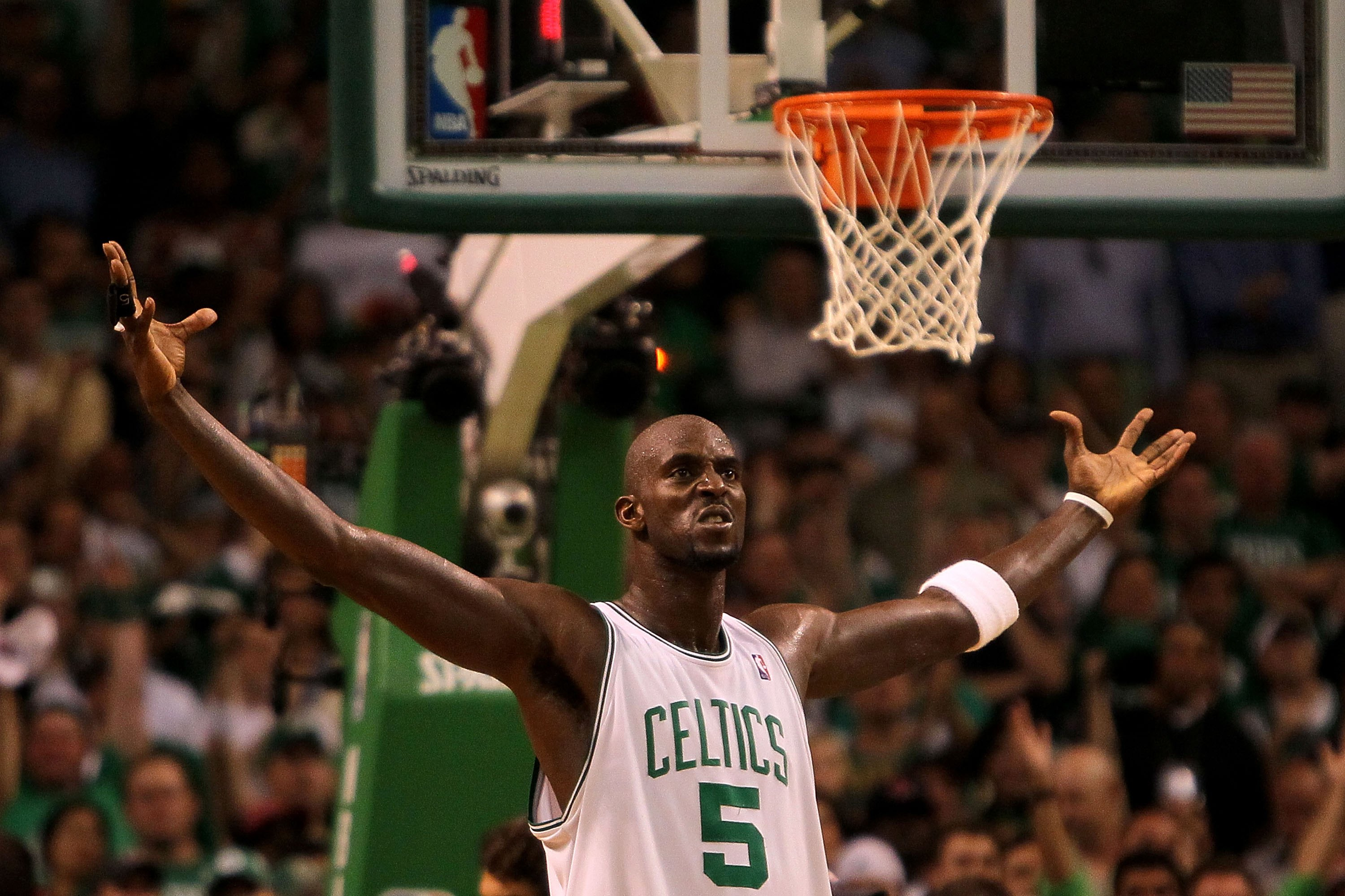 BOSTON - MAY 24:  Kevin Garnett #5 of the Boston Celtics gestures on court against the Orlando Magic in Game Four of the Eastern Conference Finals during the 2010 NBA Playoffs at TD Banknorth Garden on May 24, 2010 in Boston, Massachusetts.  NOTE TO USER: