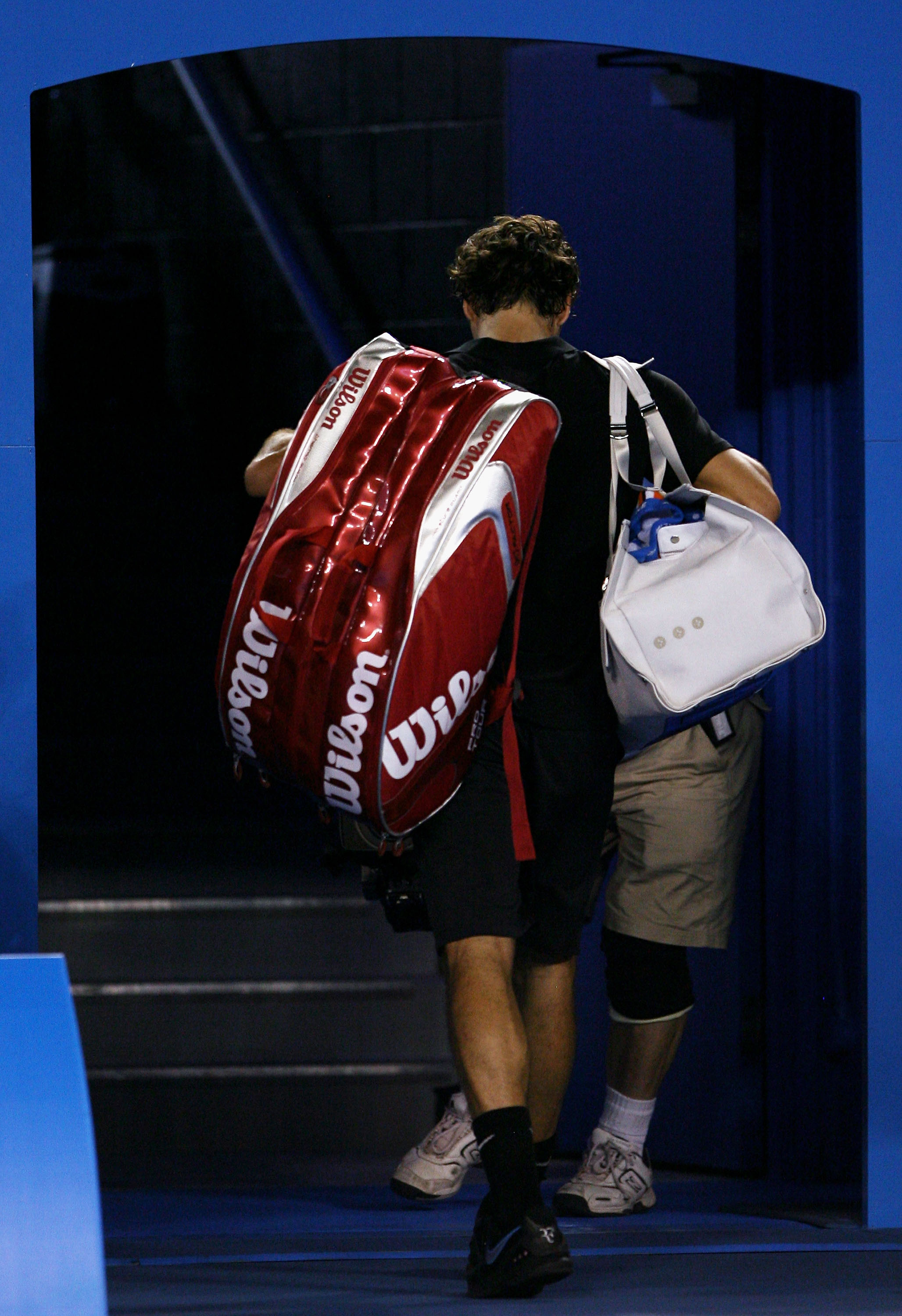 a6fec2f80fc MELBOURNE, AUSTRALIA - JANUARY 25: Roger Federer of Switzerland leaves the  court after loosing