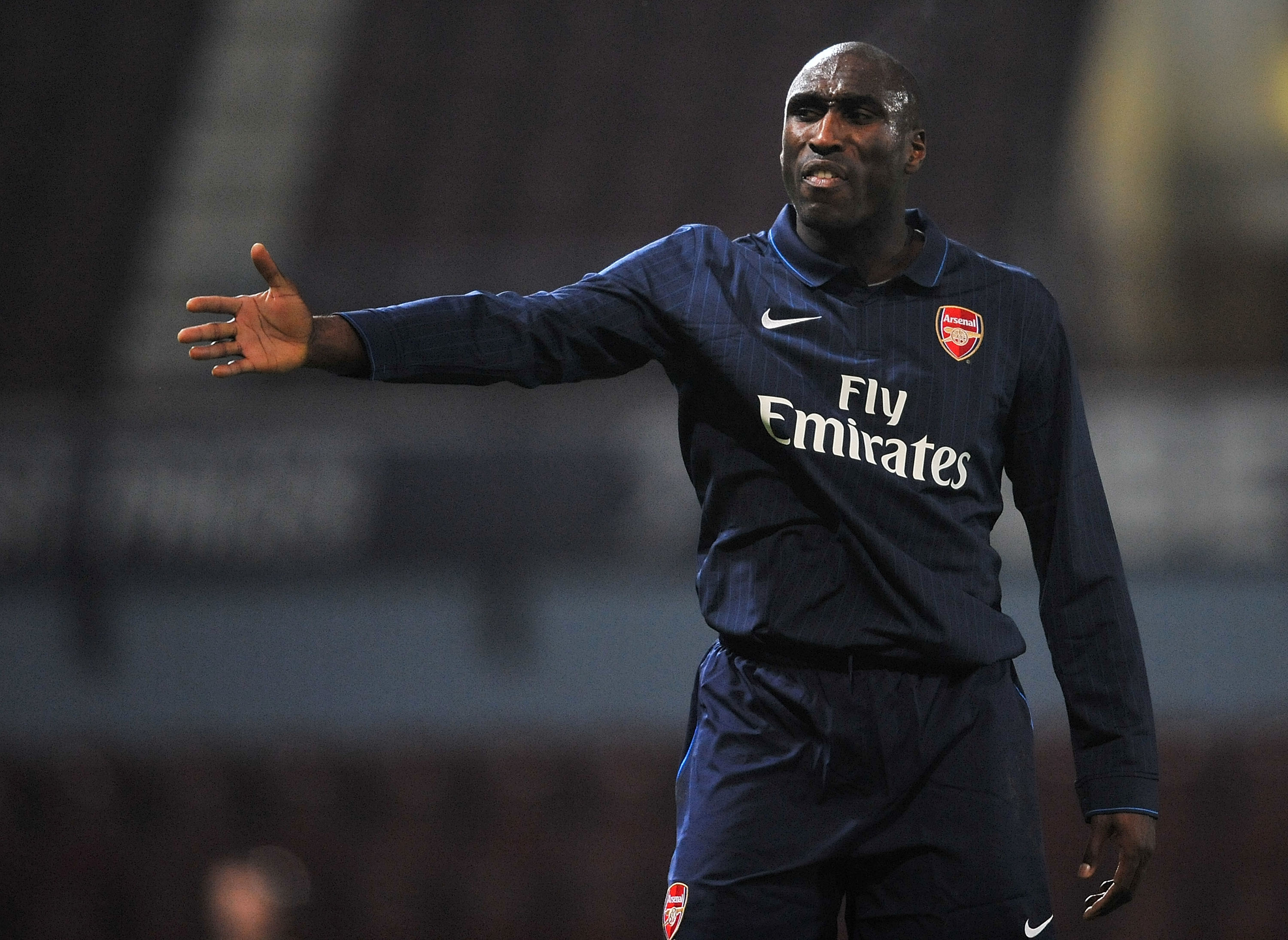 LONDON, ENGLAND - JANUARY 12:  Sol Campbell of Arsenal signals to his team mates during the reserves match between West Ham United Reserves and Arsenal Reserves at Boleyn Ground on January 12, 2010 in London, England.  (Photo by Christopher Lee/Getty Imag