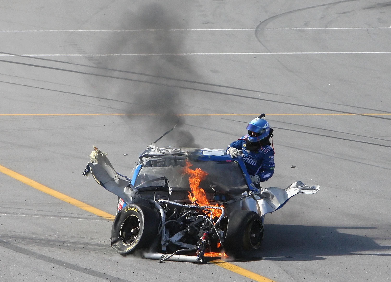 Carl Edwards 2009 race at Talladega was looking good until he was sent airborne by Brad Keselowski.