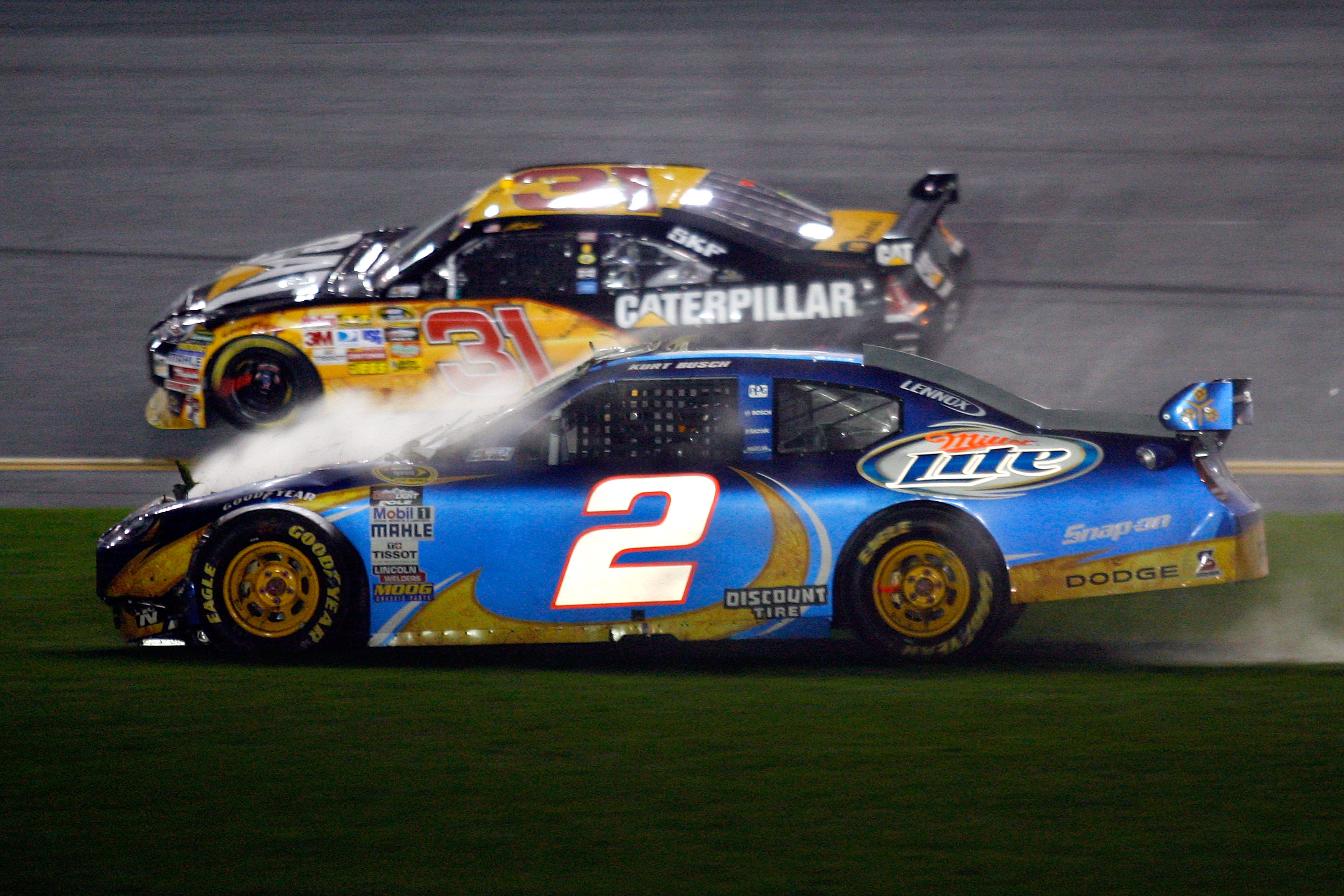 Kurt Busch ended his 2010 Daytona 500 wrecked on the infield.