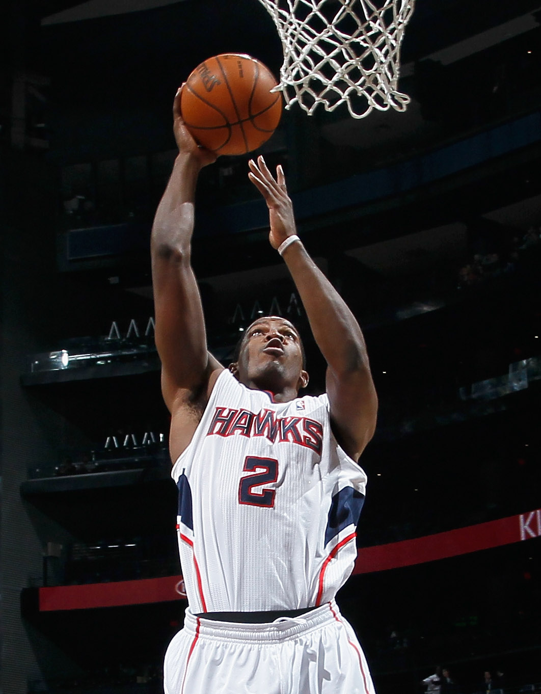 ATLANTA - NOVEMBER 12:  Joe Johnson #2 of the Atlanta Hawks against the Utah Jazz at Philips Arena on November 12, 2010 in Atlanta, Georgia.  NOTE TO USER: User expressly acknowledges and agrees that, by downloading and/or using this Photograph, User is c