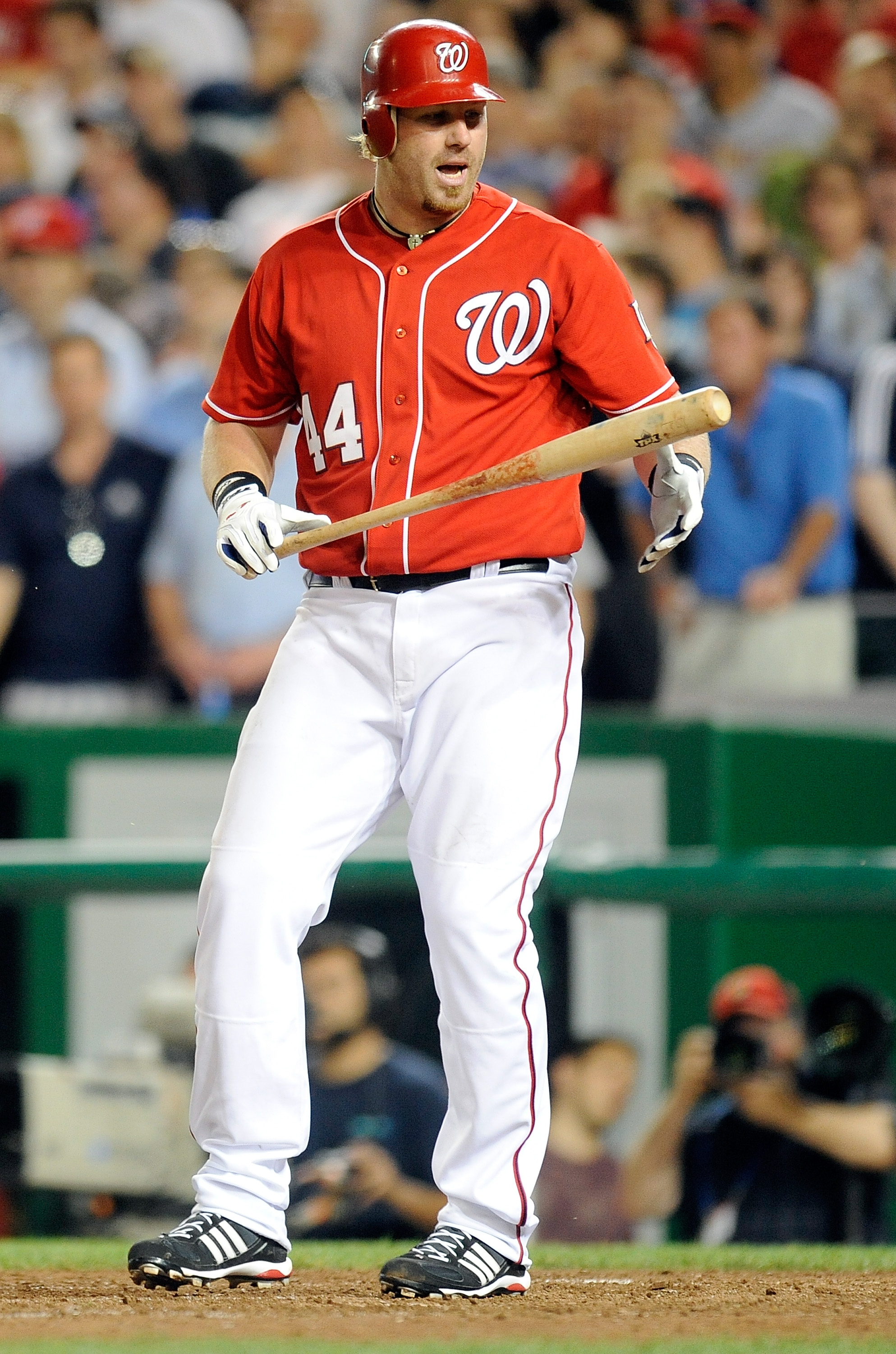 WASHINGTON - JUNE 18:  Adam Dunn #44 of the Washington Nationals reacts after striking out to end the ninth inning against the Chicago White Sox at Nationals Park on June 18, 2010 in Washington, DC.  (Photo by Greg Fiume/Getty Images)