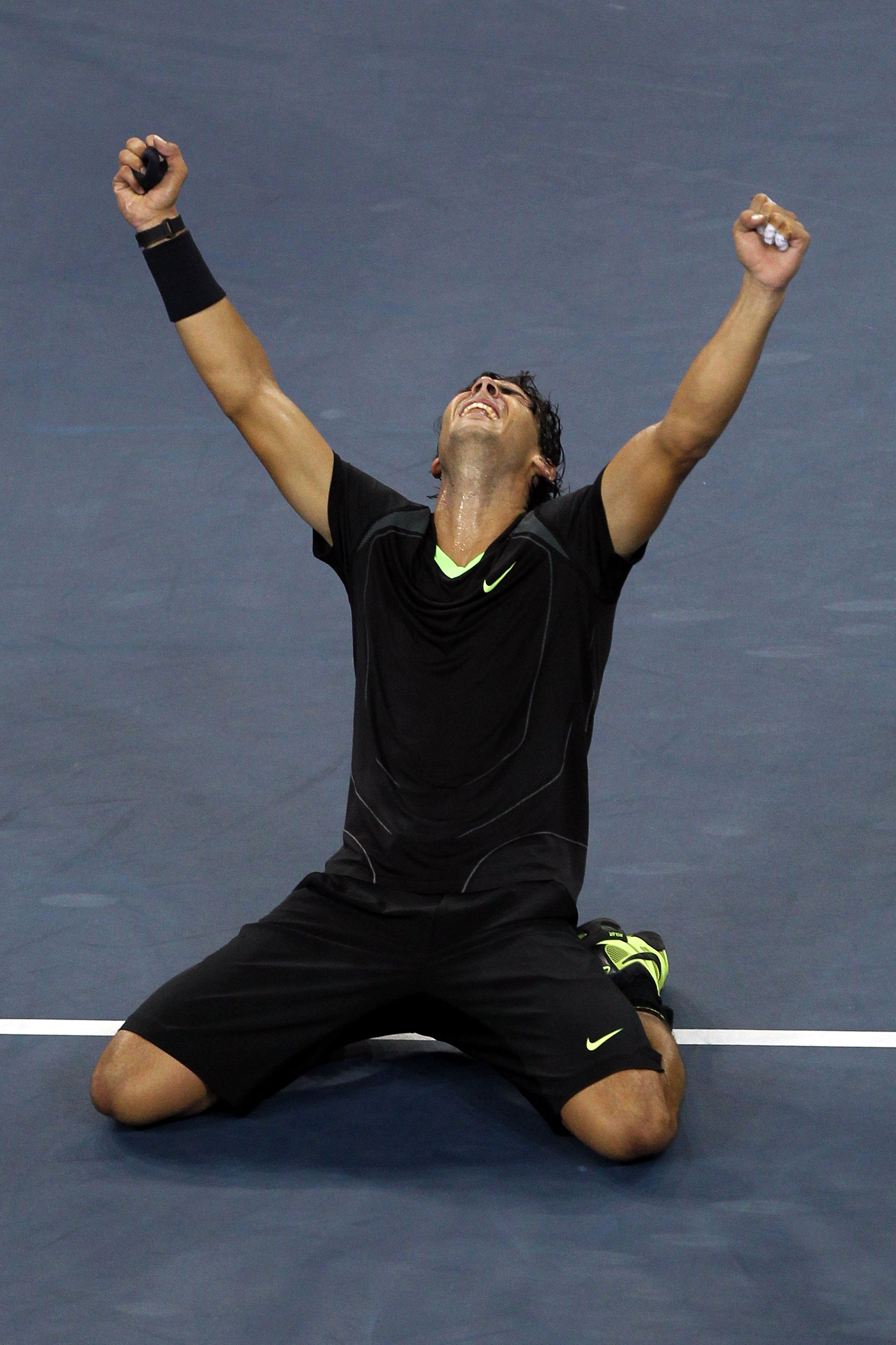 NEW YORK - SEPTEMBER 13:  Rafael Nadal of Spain falls to his knees in celebration of his win over Novak Djokovic of Serbia during their men's singles final on day fifteen of the 2010 U.S. Open at the USTA Billie Jean King National Tennis Center on Septemb