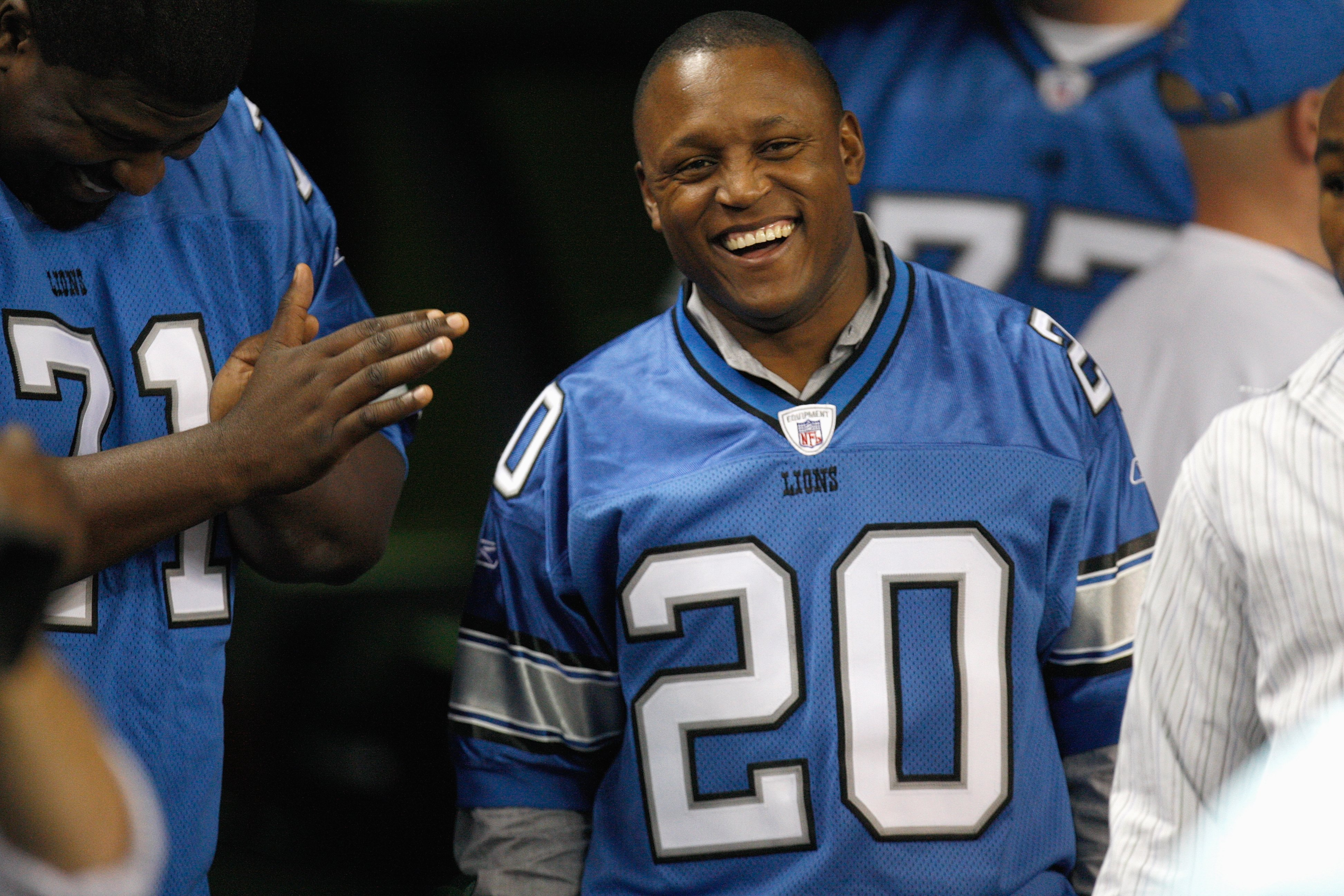 DETROIT - DECEMBER 23:  Barry Sanders smiles from the sideline during the game between the Kansas City Chiefs and the Detroit Lions on December 23, 2007 at Ford Field in Detroit, Michigan. (Photo byGregory Shamus/Getty Images)