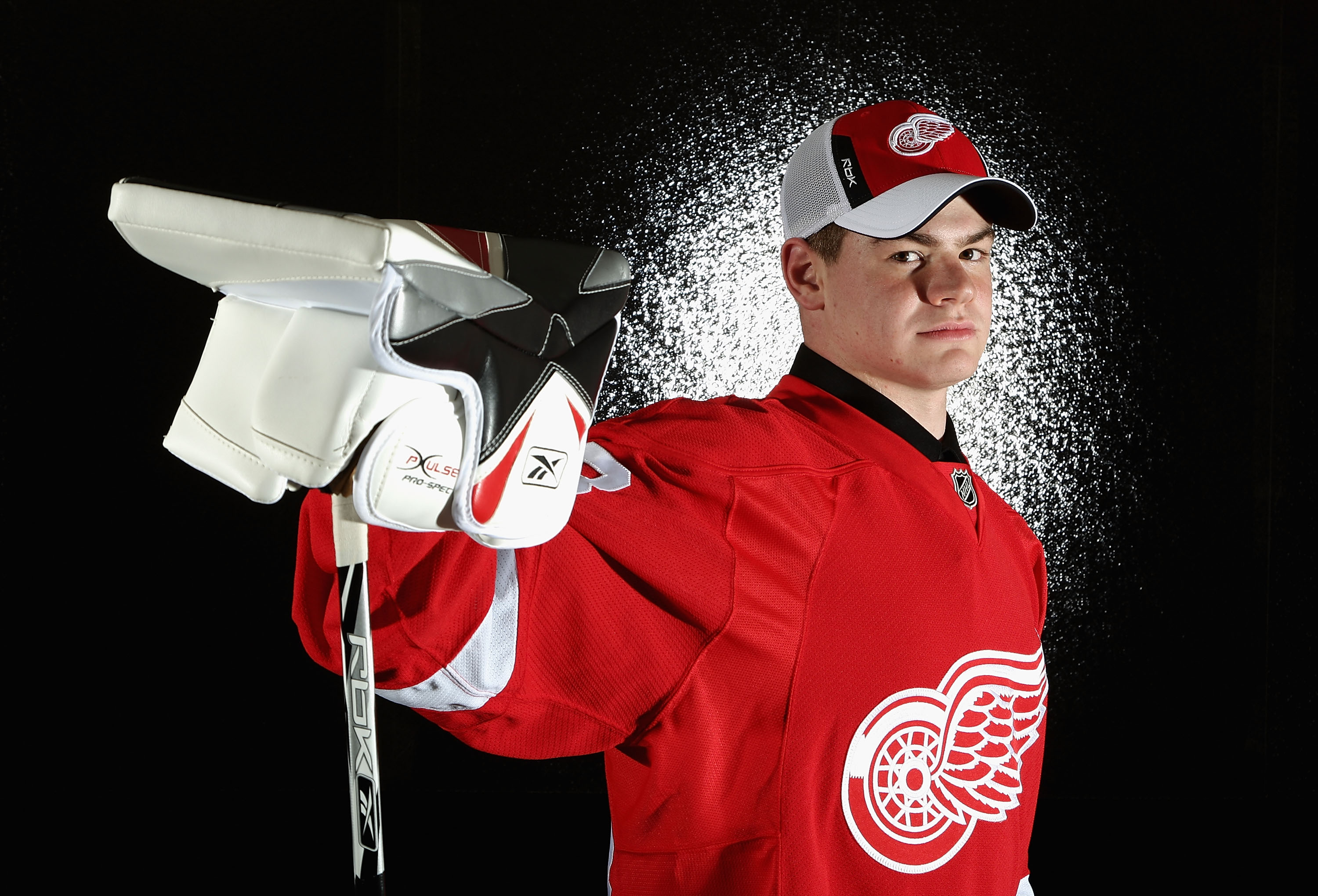 OTTAWA, ON - JUNE 20:  30th overall pick, Thomas McCollum of the Detroit Red Wings poses for a portrait at the 2008 NHL Entry Draft at Scotiabank Place on June 20, 2008 in Ottawa, Ontario, Canada.  (Photo by Andre Ringuette/Getty Images)