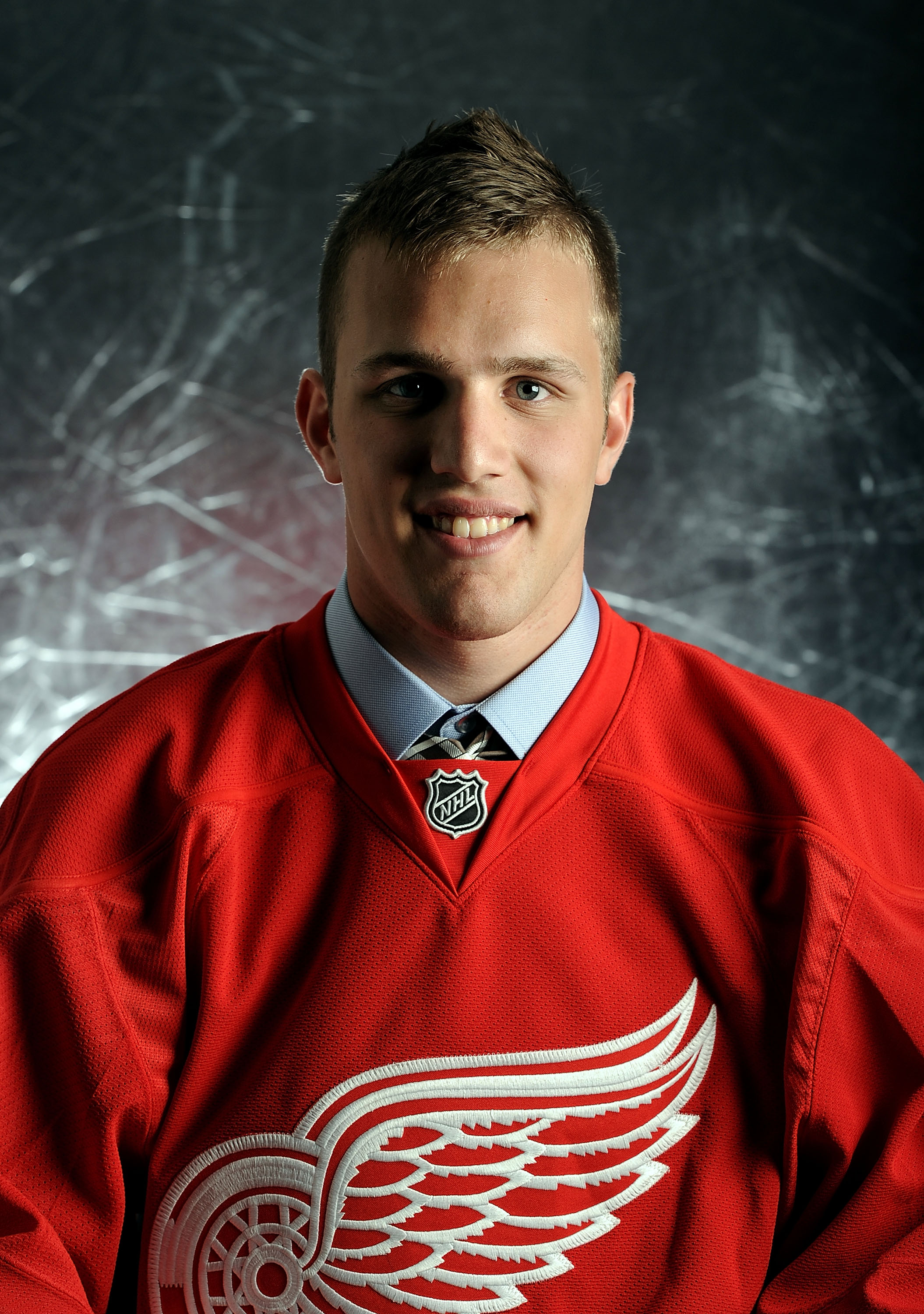LOS ANGELES, CA - JUNE 25:  Riley Sheahan, drafted 21th overall by the Detroit Red Wings, poses for a portrait during the 2010 NHL Entry Draft at Staples Center on June 25, 2010 in Los Angeles, California.  (Photo by Harry How/Getty Images)