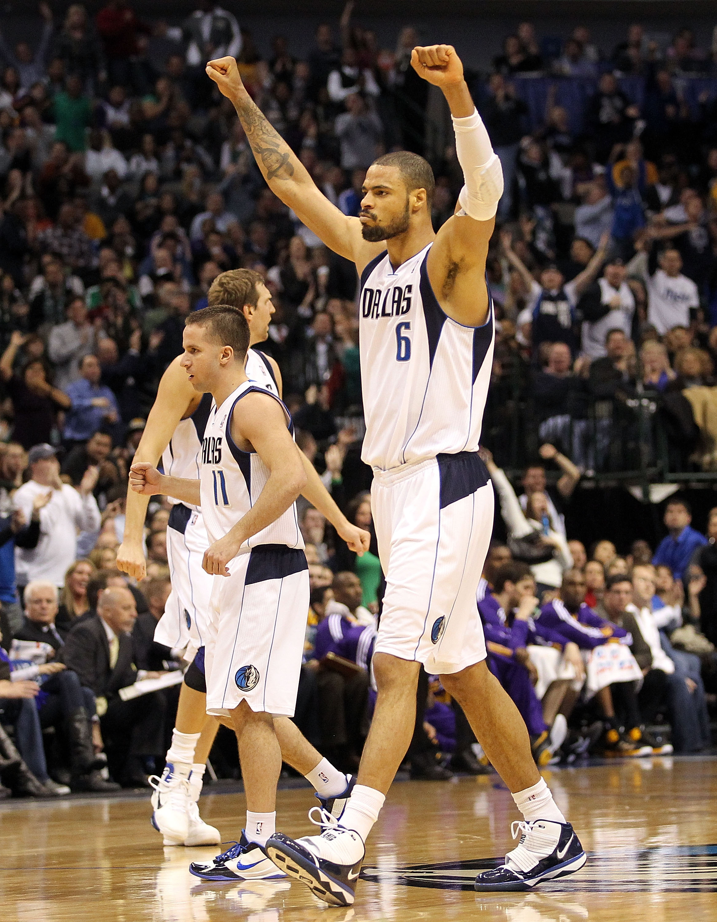 DALLAS, TX - JANUARY 19:  Tyson Chandler #6 of the Dallas Mavericks reacts during play against the Los Angeles Lakers at American Airlines Center on January 19, 2011 in Dallas, Texas.  NOTE TO USER: User expressly acknowledges and agrees that, by download