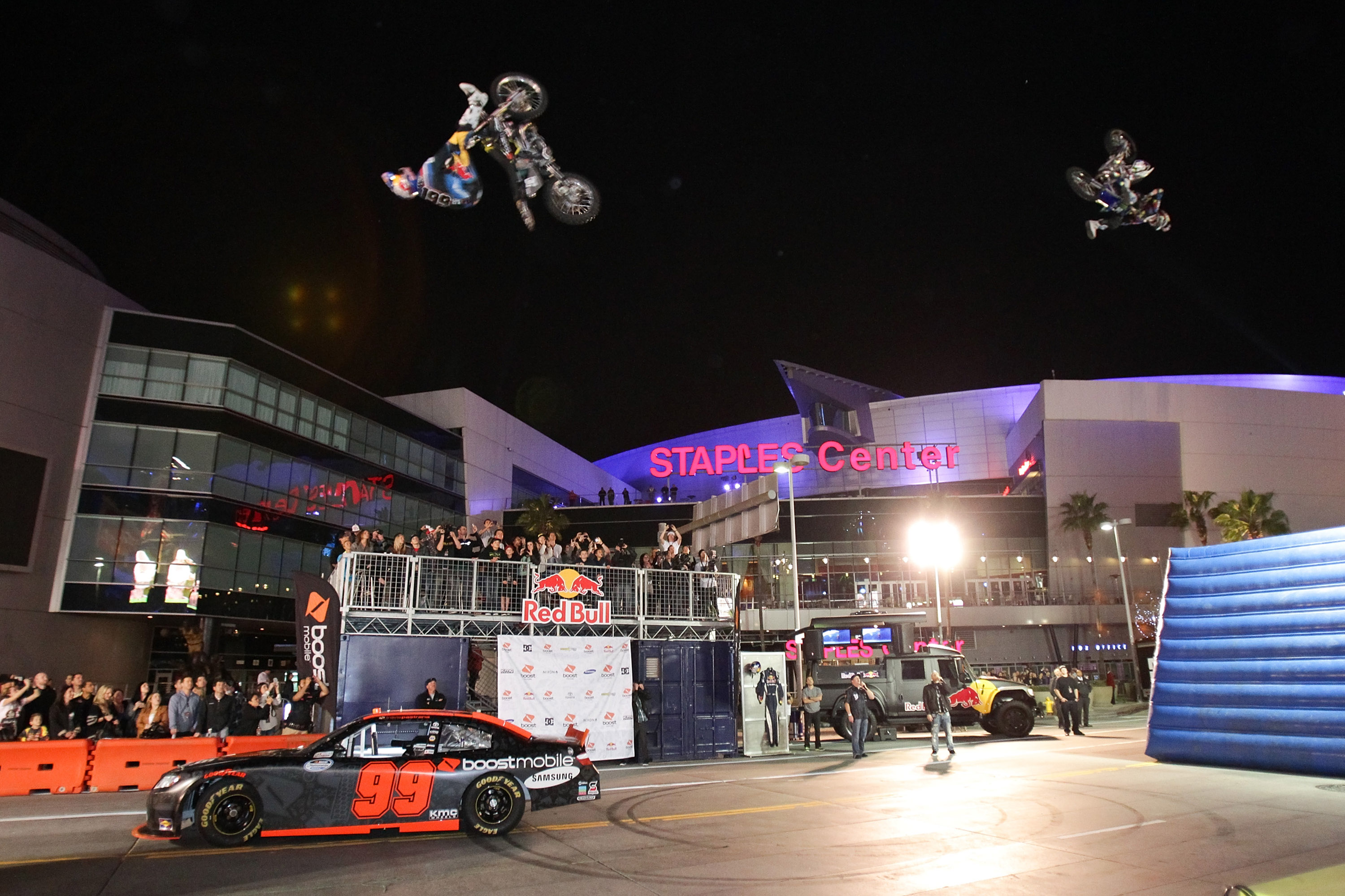 Travis Pastrana announced his sponsorship deal with Boost Mobile with a wild heel clicking celebration January 21st.