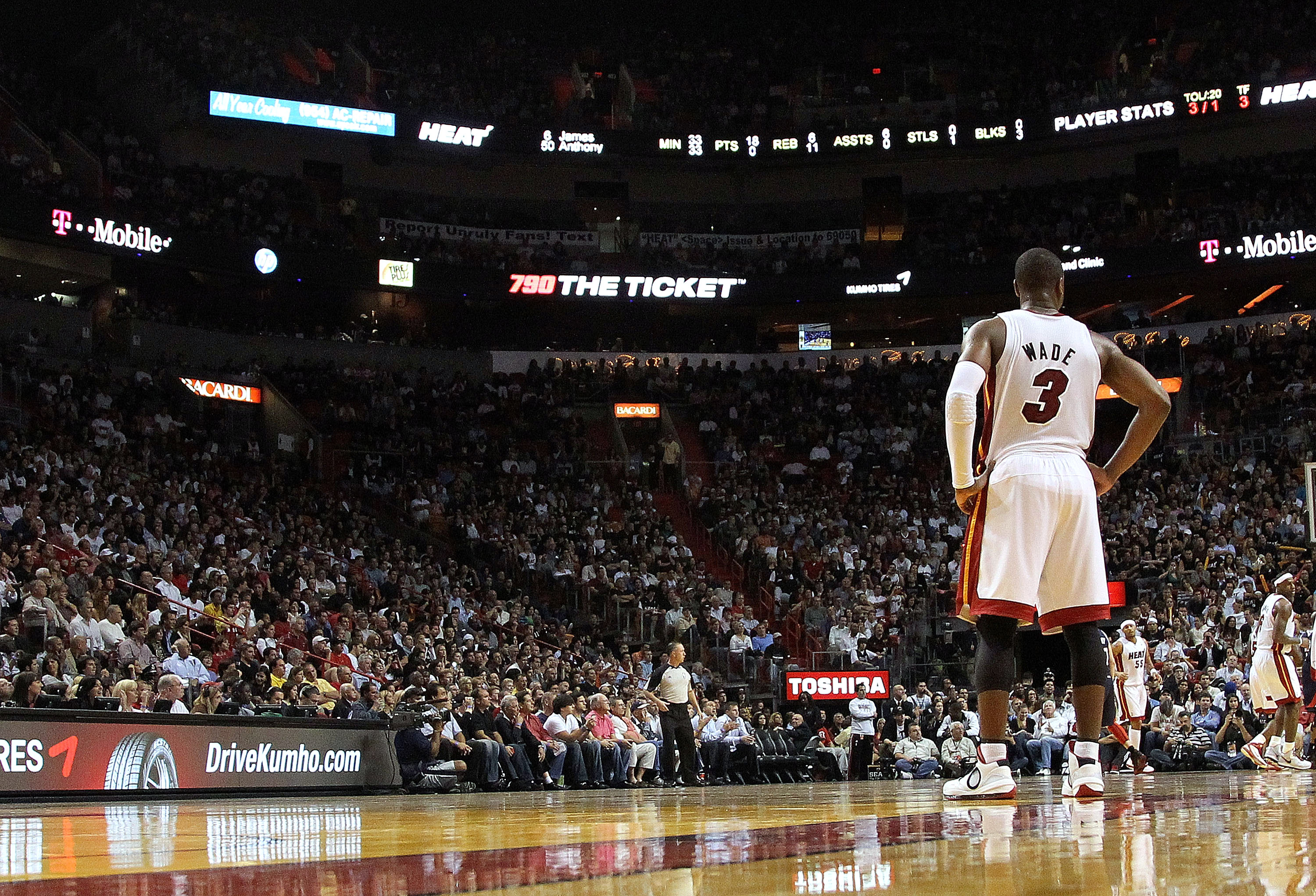 MIAMI, FL - JANUARY 18:  Dwyane Wade #3 of the Miami Heat looks on during a game against the Atlanta Hawks at American Airlines Arena on January 18, 2011 in Miami, Florida. NOTE TO USER: User expressly acknowledges and agrees that, by downloading and/or u