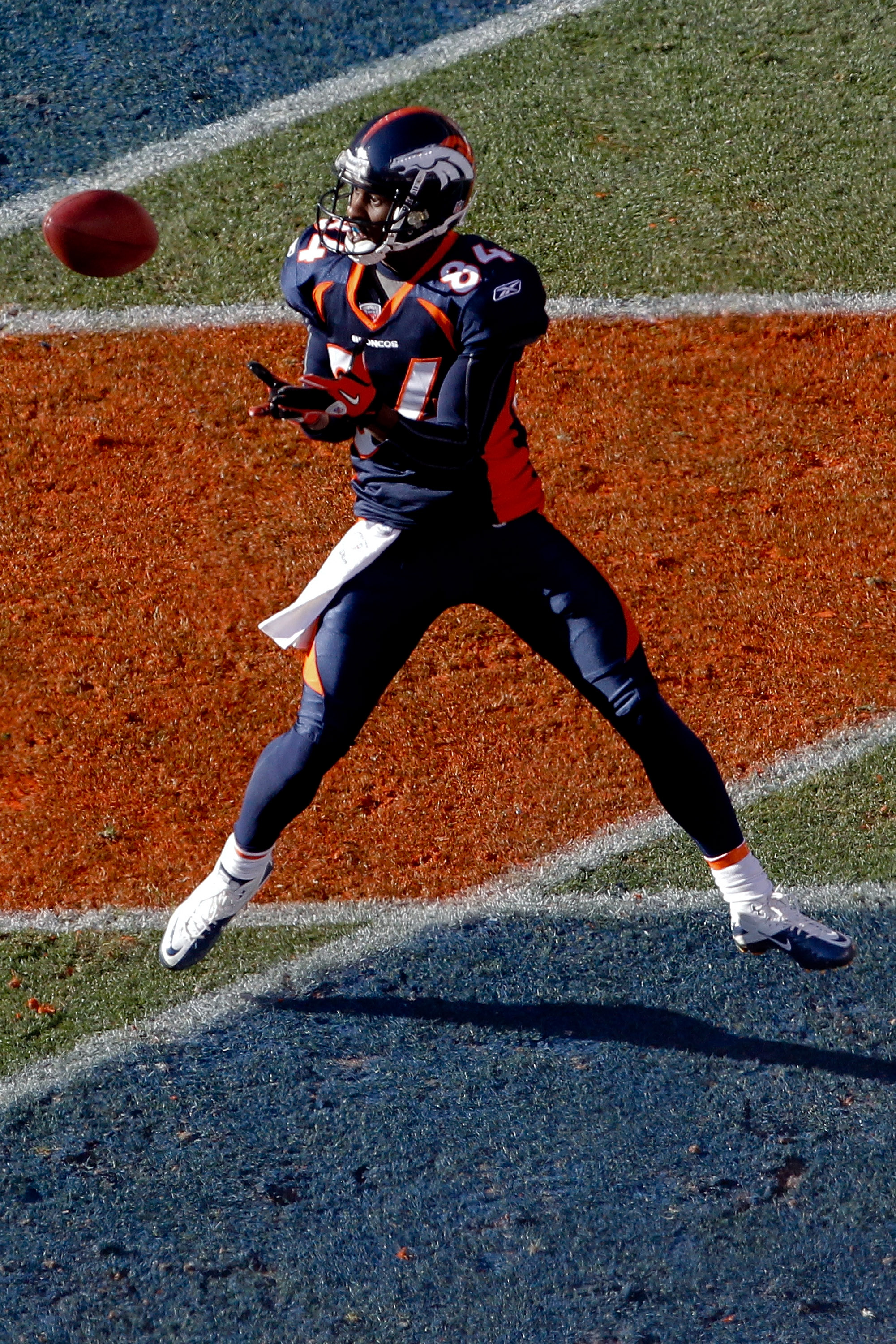 DENVER, CO - JANUARY 2:  Wide receiver Brandon Lloyd #84 of the Denver Broncos makes a touchdown reception against the San Diego Chargers during the first quarter at INVESCO Field at Mile High on January 2, 2011 in Denver, Colorado. (Photo by Justin Edmon