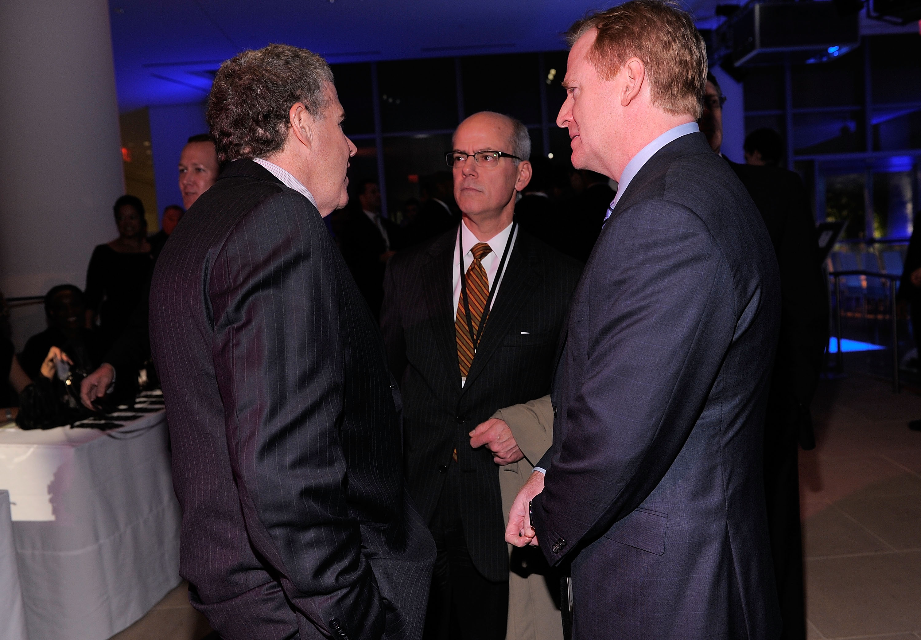 NEW YORK, NY - NOVEMBER 30:  (R) Commissioner of hte NFL Roger Goodell speaks during the 2010 Sports Illustrated Sportsman of the Year Celebration  at IAC Building on November 30, 2010 in New York City.  (Photo by Jemal Countess/Getty Images)