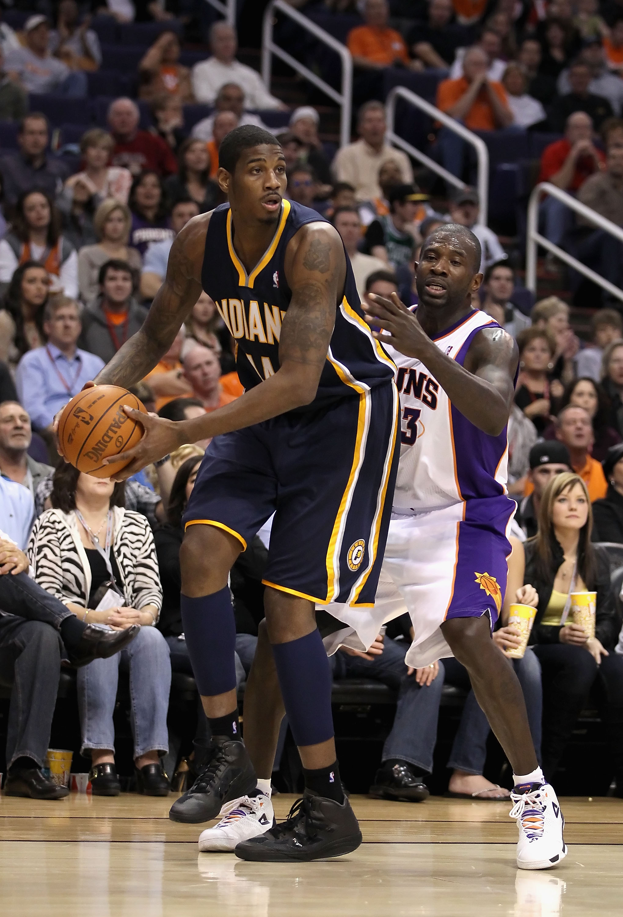 PHOENIX - DECEMBER 03:  Solomon Jones #44 of the Indiana Pacers looks to pass during the NBA game against the Phoenix Suns at US Airways Center on December 3, 2010 in Phoenix, Arizona. NOTE TO USER: User expressly acknowledges and agrees that, by download