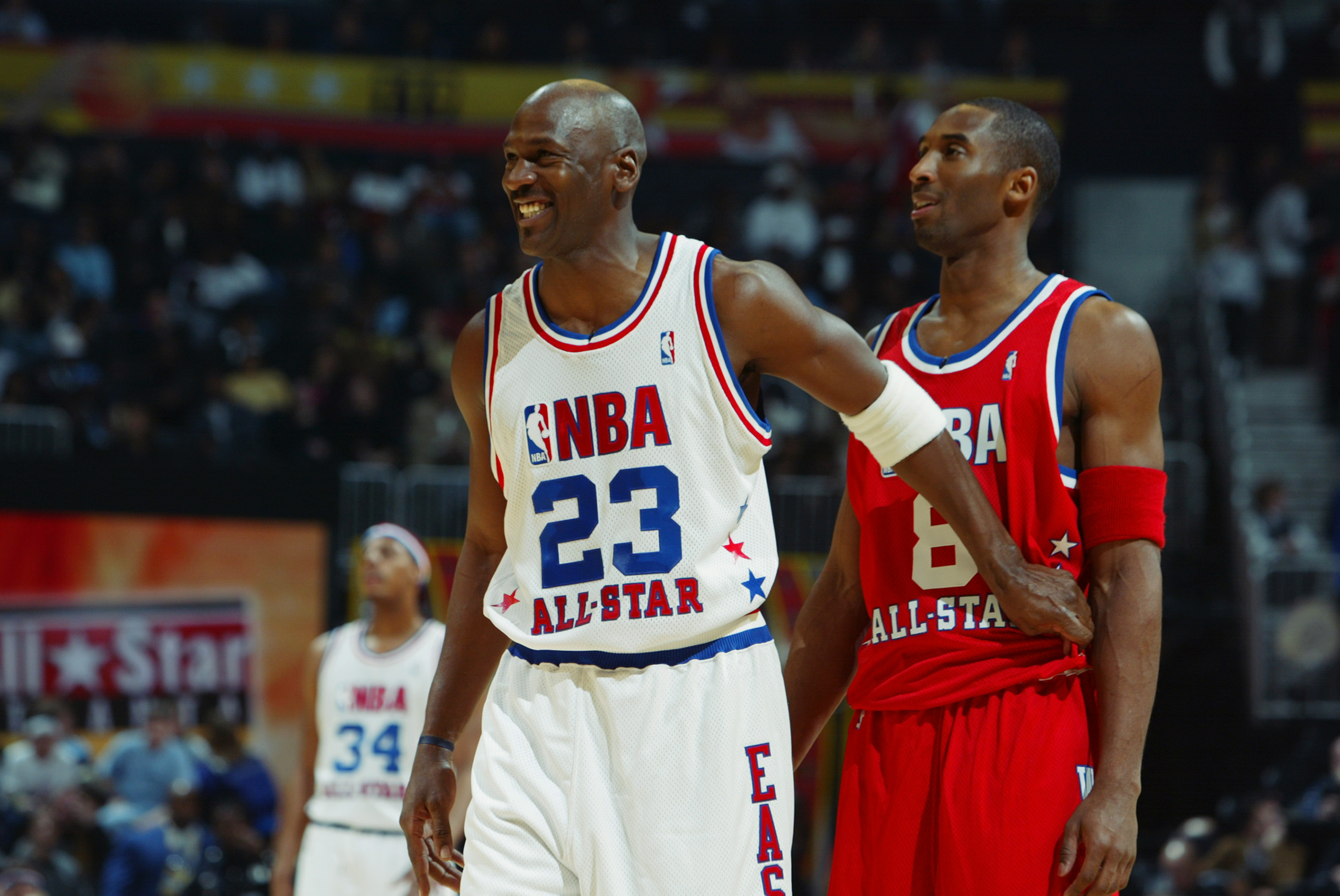 the best attitude 46fd9 56c65 ATLANTA, GA - FEBRUARY 9  Michael Jordan (Washington Wizards)  23 of. Jamie  Squire Getty Images. The NBA All-Star Game ...