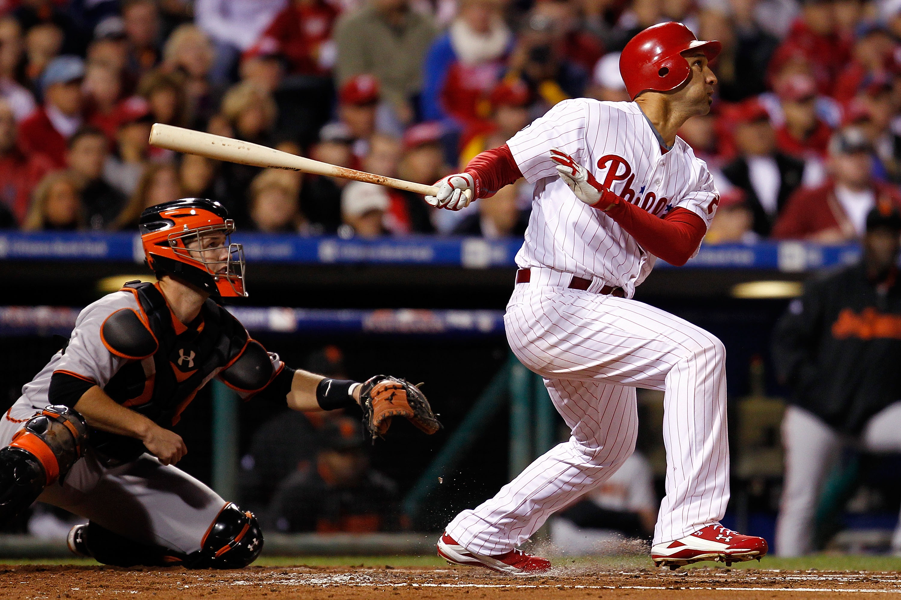 PHILADELPHIA - OCTOBER 16:  Raul Ibanez #29 of the Philadelphia Phillies at bat against the San Francisco Giants in Game One of the NLCS during the 2010 MLB Playoffs at Citizens Bank Park on October 16, 2010 in Philadelphia, Pennsylvania.  (Photo by Jeff