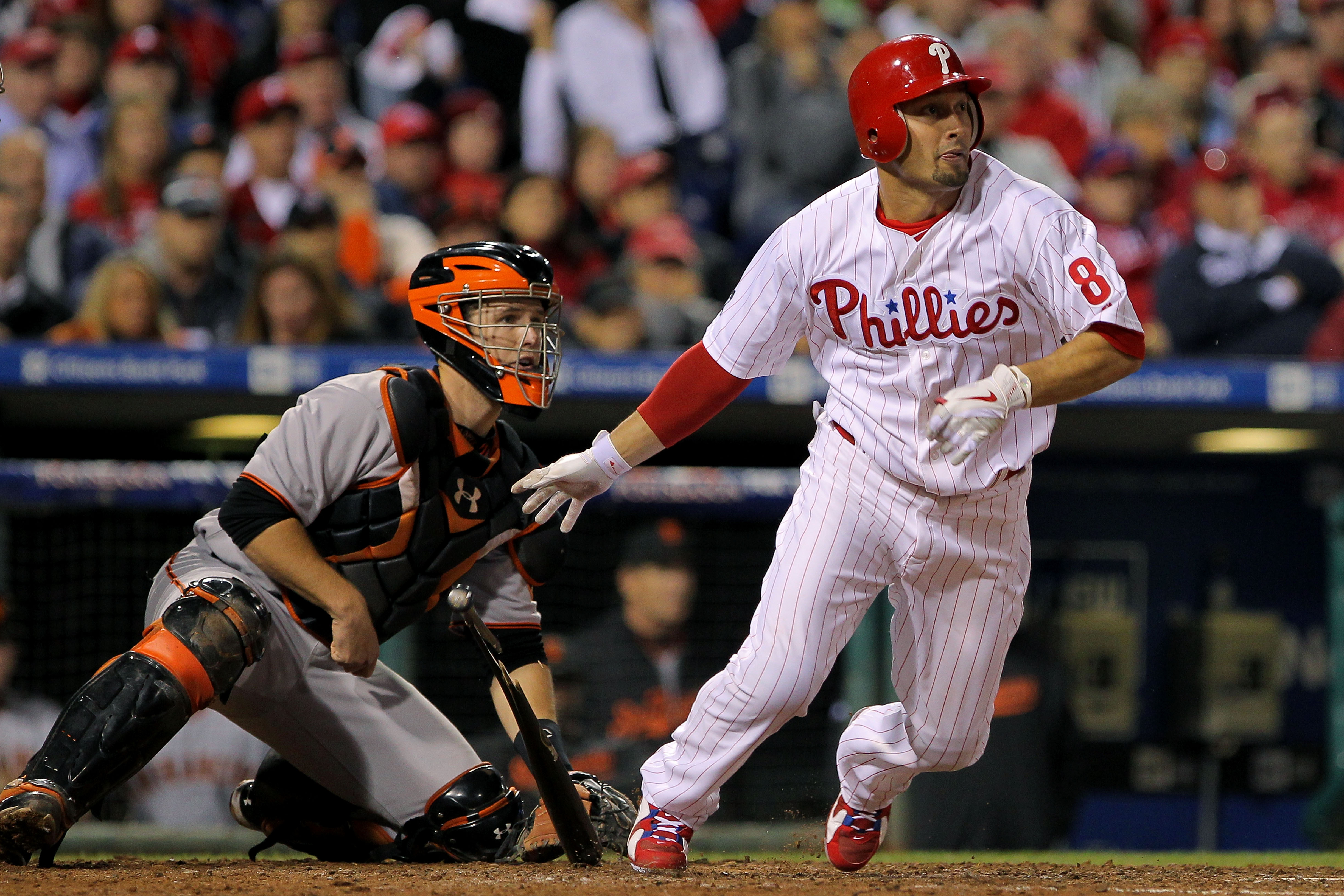 PHILADELPHIA - OCTOBER 23:  Shane Victorino #8 of the Philadelphia Phillies hits a single in the eighth against the San Francisco Giants in Game Six of the NLCS during the 2010 MLB Playoffs at Citizens Bank Park on October 23, 2010 in Philadelphia, Pennsy