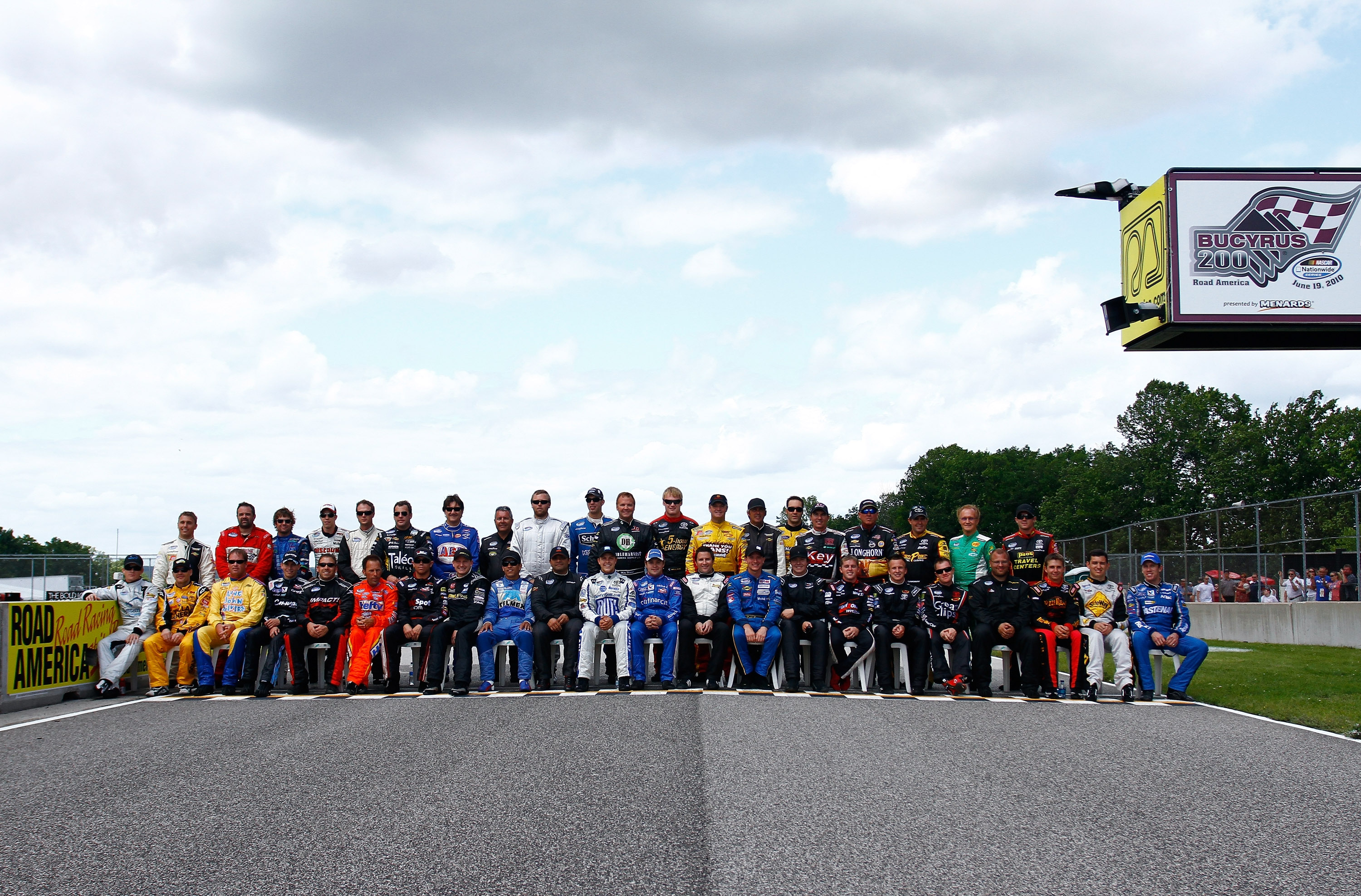 ELKHART LAKE, WI - JUNE 19: A general view of the participating starting line-up of the Nationwide Series Bucyrus 200 pose at Road America on June 19, 2010 in Elkhart Lake, Wisconsin. (Photo by Jason Smith/Getty Images for NASCAR)