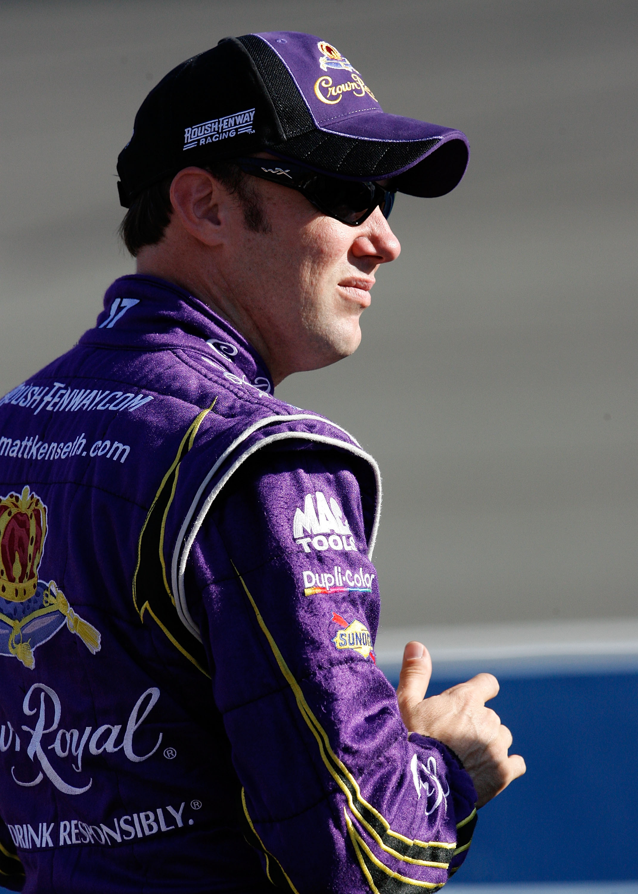 FONTANA, CA - OCTOBER 08:  Matt Kenseth, driver of the #17 Crown Royal Ford, stands on pit road qualifying for the NASCAR Sprint Cup Series Pepsi Max 400 on October 8, 2010 in Fontana, California.  (Photo by Tom Pennington/Getty Images for NASCAR)