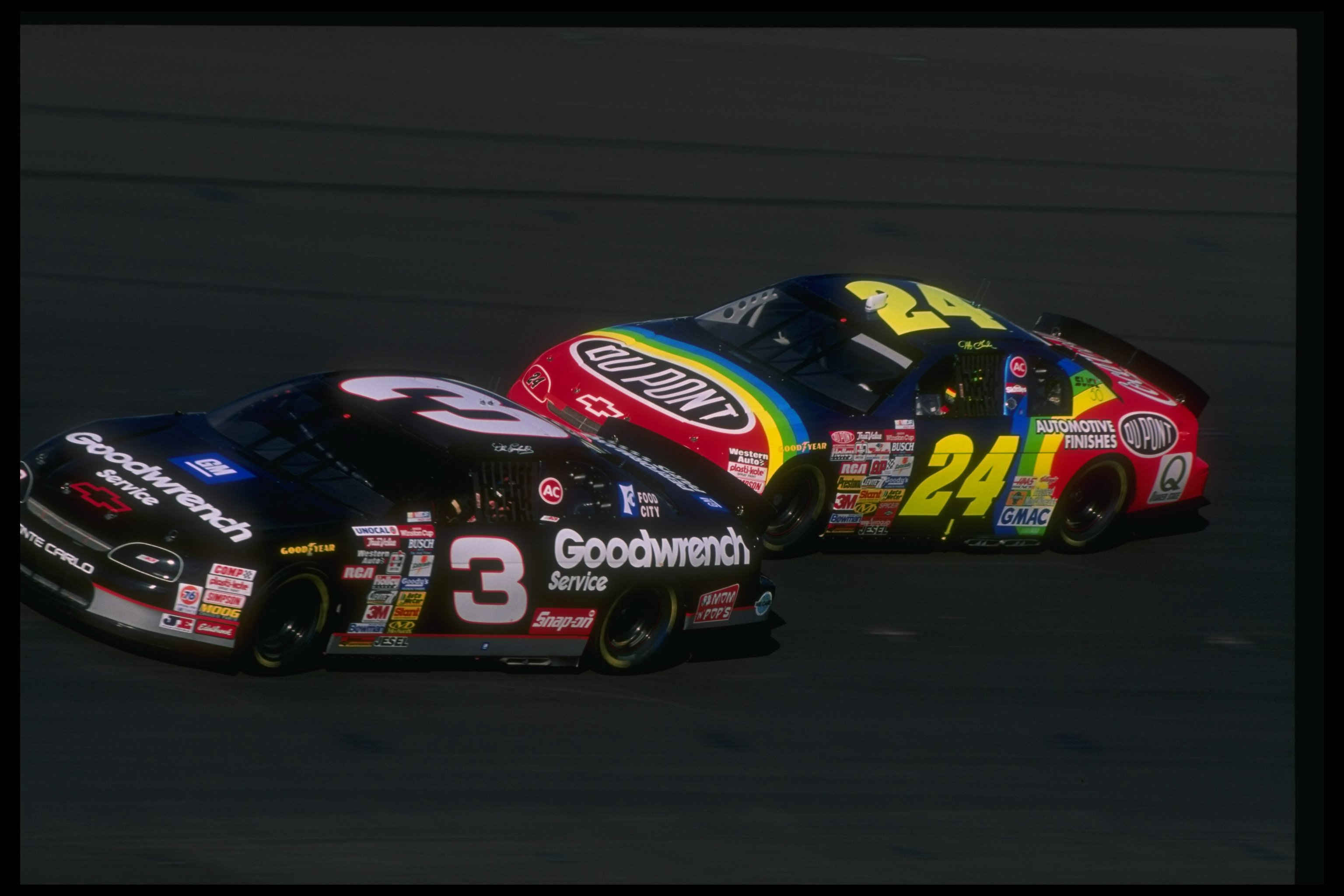 10 Nov 1996:  Dale Earnhardt (left) and Jeff Gordon compete during the NASCAR NAPA 500 at the Atlanta Motor Speedway in Hampton, Georgia. Mandatory Credit: David Taylor  /Allsport