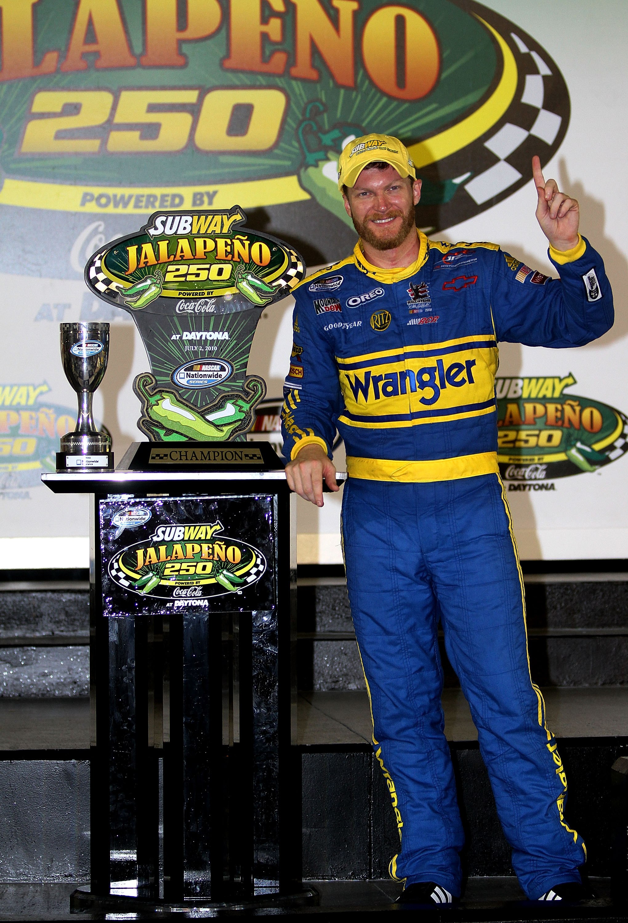 DAYTONA BEACH, FL - JULY 02:  Dale Earnhardt Jr., driver of the #3 Wrangler Chevrolet, celebrates in victory lane after winning the NASCAR Nationwide Series Subway Jalapeno 250 at Daytona International Speedway on July 2, 2010 in Daytona Beach, Florida.