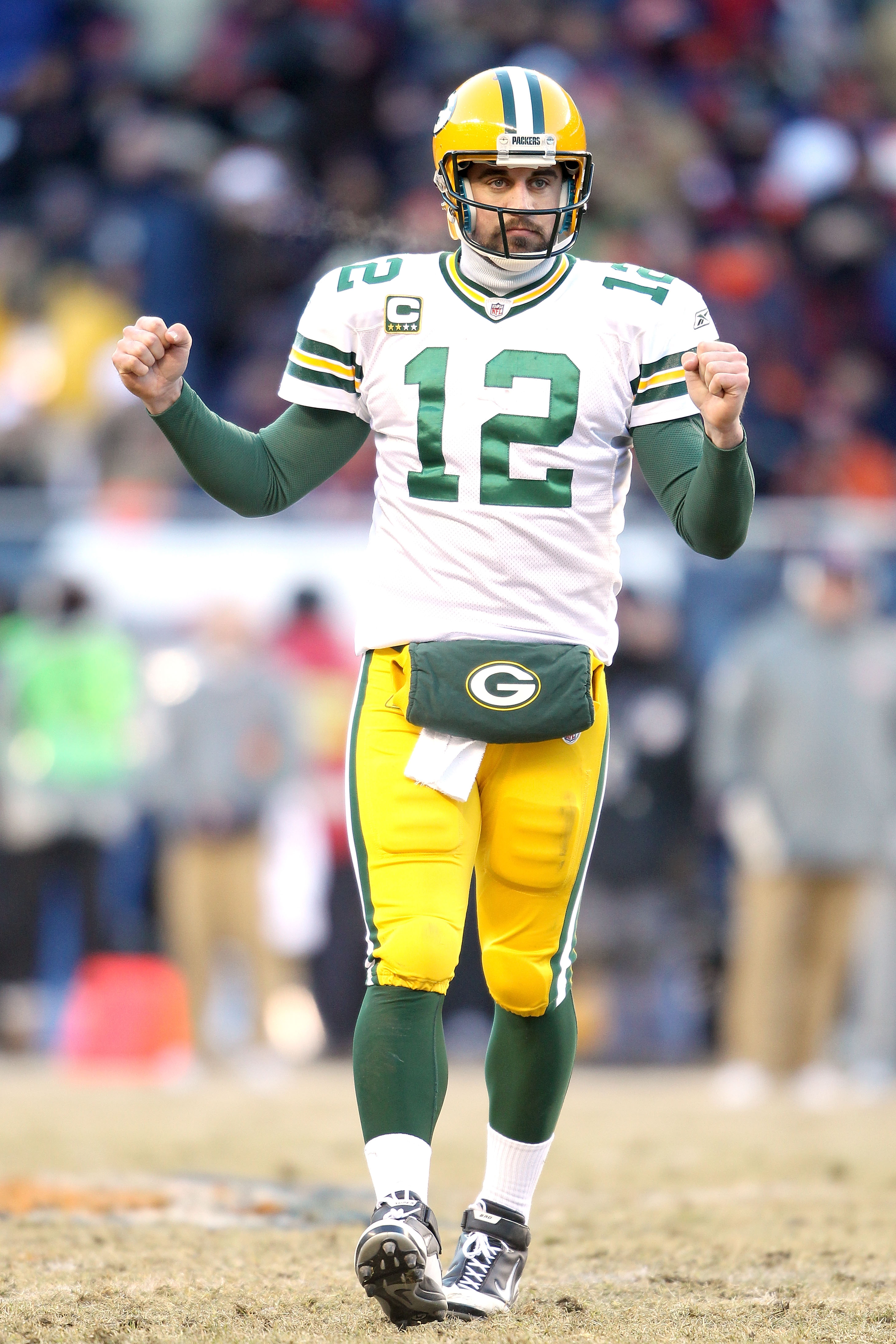 CHICAGO, IL - JANUARY 23:  Quarterback Aaron Rodgers #12 of the Green Bay Packers reacts in the third quarter against the Chicago Bears in the NFC Championship Game at Soldier Field on January 23, 2011 in Chicago, Illinois.  (Photo by Andy Lyons/Getty Ima