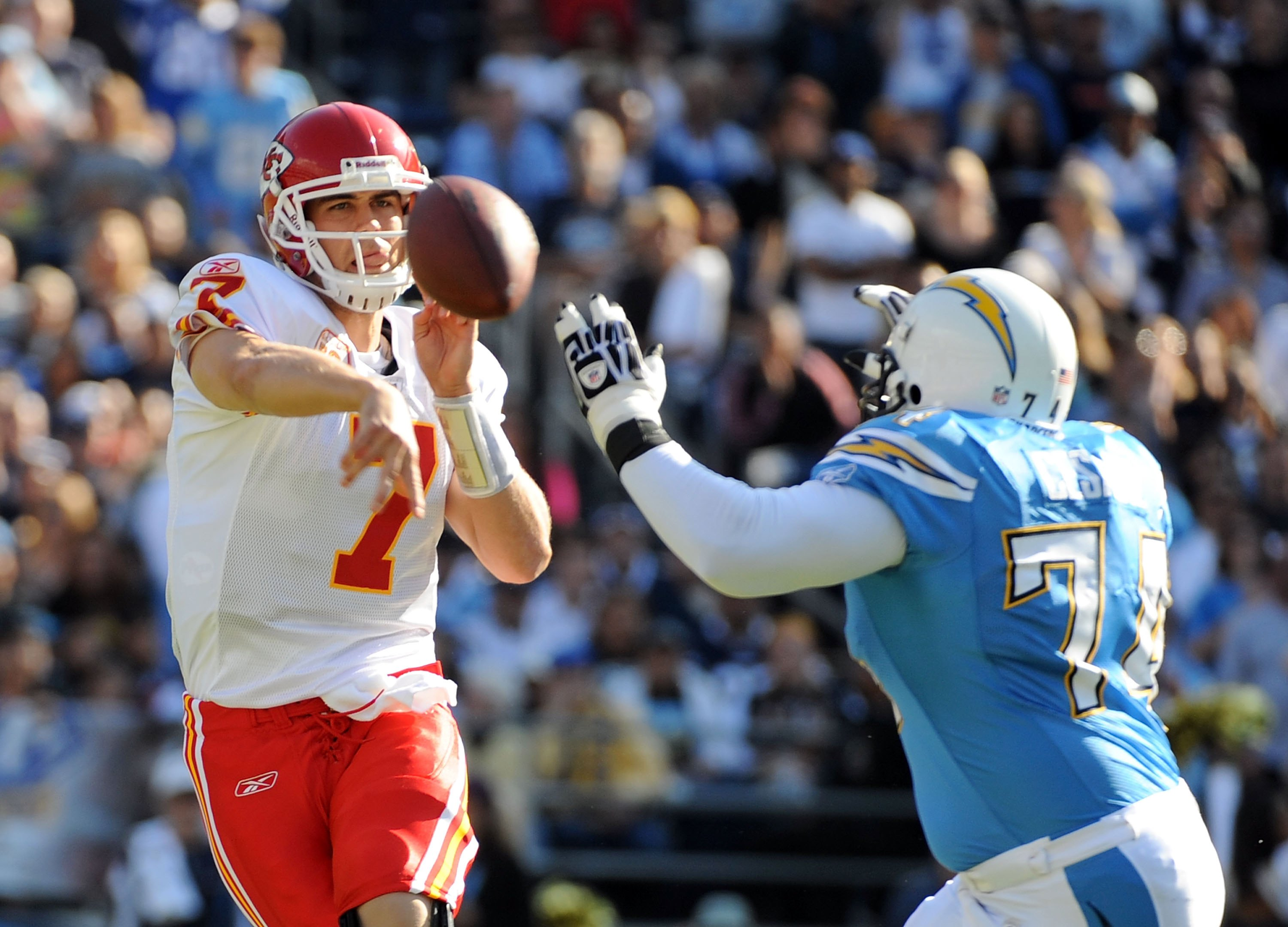 SAN DIEGO - NOVEMBER 29:  Matt Cassel #7 of the Kansas City Chiefs throws as he is rushed by Jacques Cesaire #74 of the San Diego Chargers at Qualcomm Stadium on November 29, 2009 in San Diego, California.  (Photo by Harry How/Getty Images)