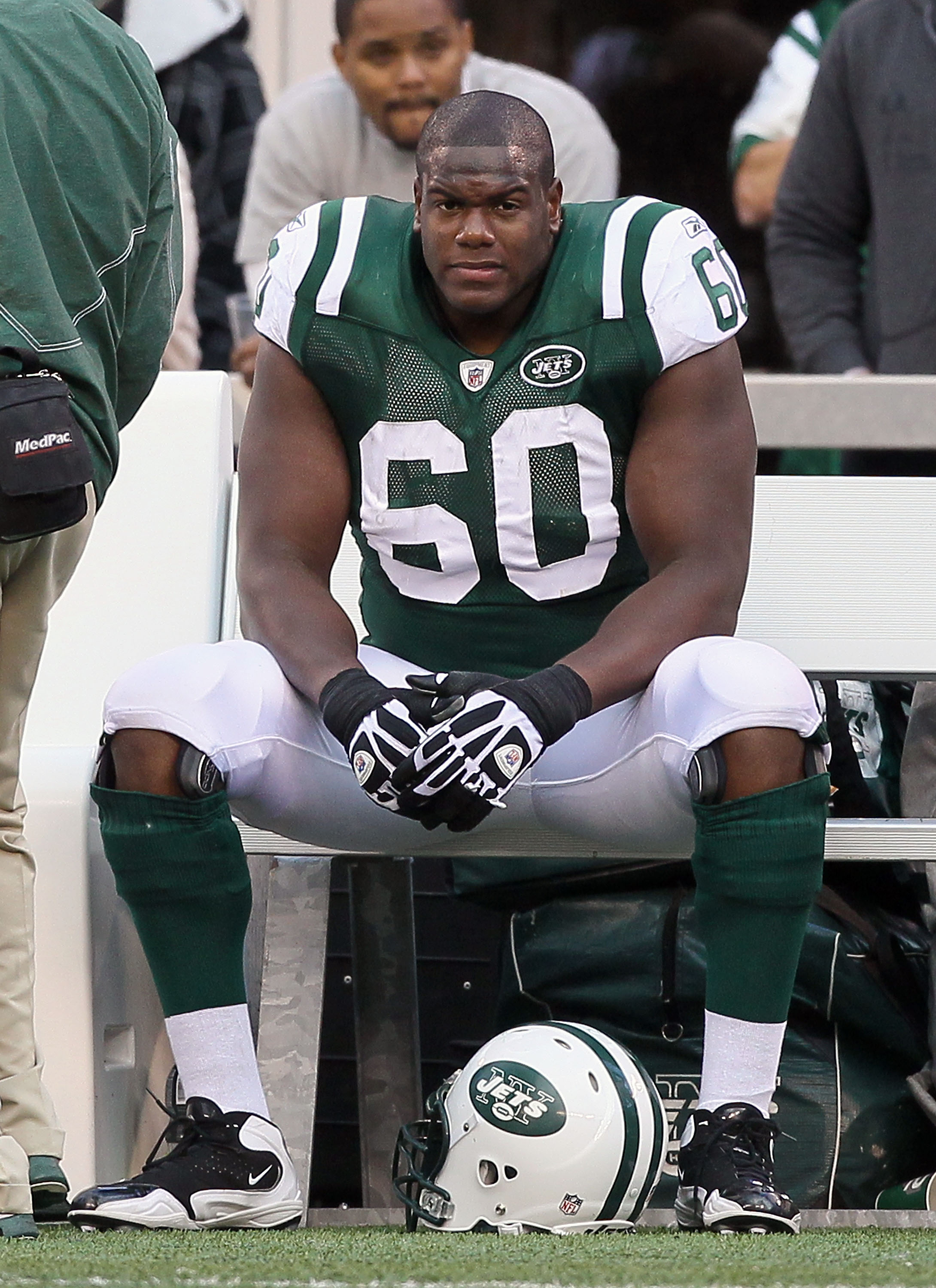 EAST RUTHERFORD, NJ - OCTOBER 31:  D'Brickashaw Ferguson #60 of the New York Jets looks on late in the game against the Green Bay Packers on October 31, 2010 at the New Meadowlands Stadium in East Rutherford, New Jersey. The Packers defeated the Jets 9-0.
