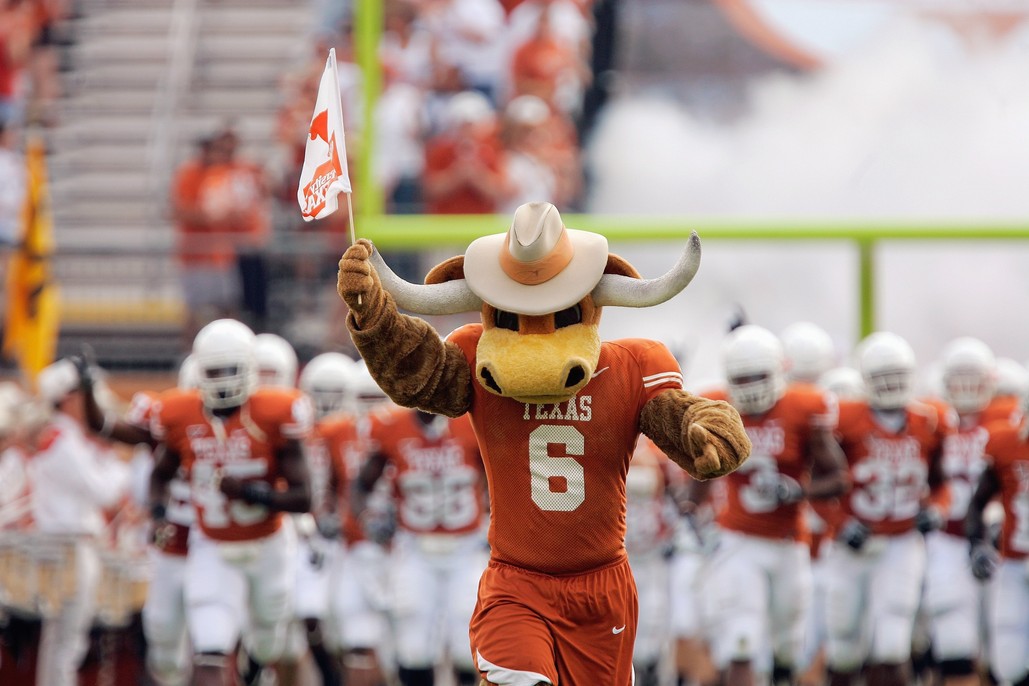 AUSTIN, TX - SEPTEMBER 27:  The Texas Longhorns mascot leads the team onto the field before the game against the Arkansas Razorbacks on September 27, 2008 at Darrell K Royal-Texas Memorial Stadium in Austin, Texas.  Texas won 52-10.  (Photo by Brian Bahr/