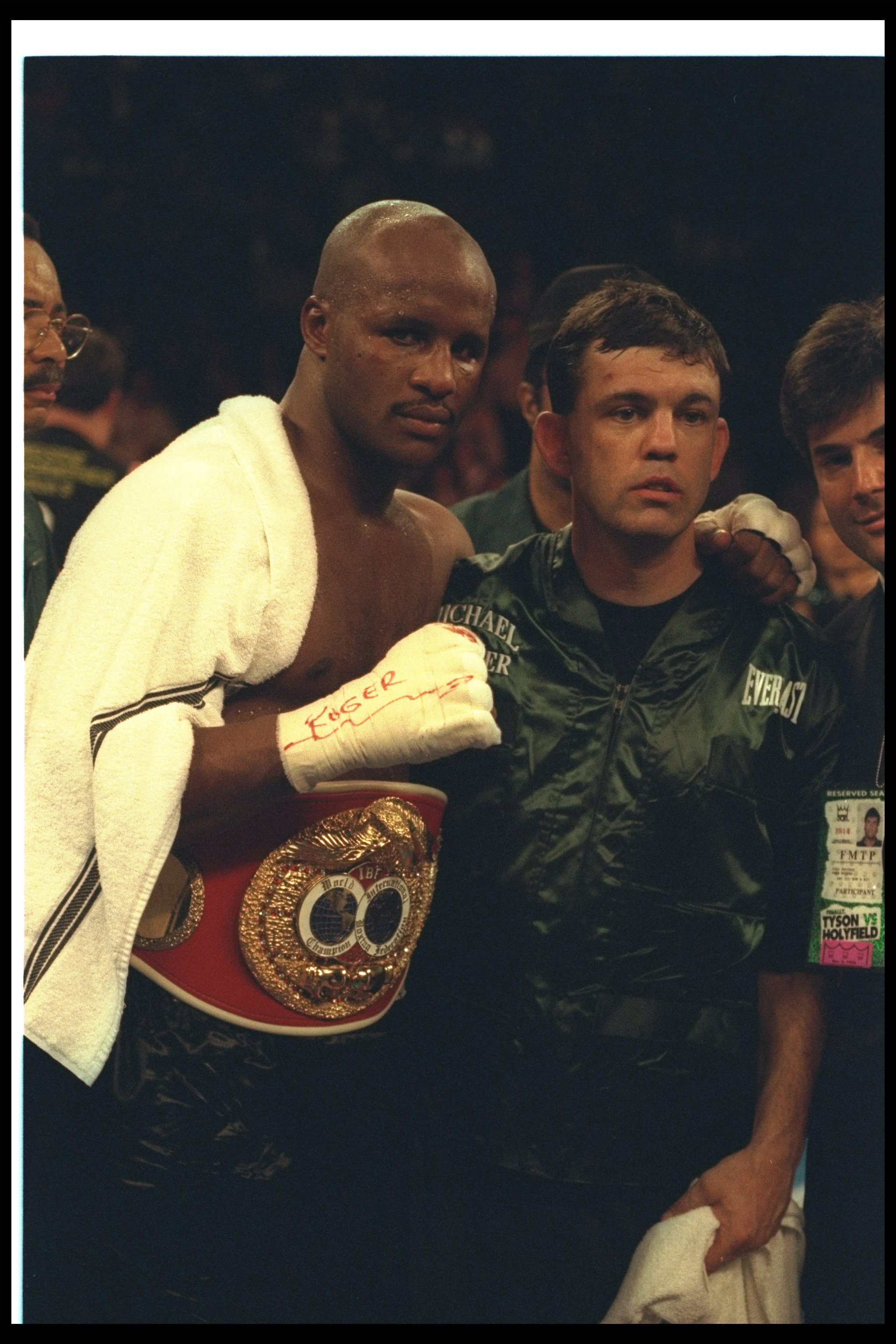 9 Nov 1996:  Michael Moorer (left) poses with Teddy Atlas after a bout against Francois Botha at the MGM Grand Hotel in Las Vegas, Nevada.  Moorer won the fight with a TKO in the tenth round. Mandatory Credit: Al Bello  /Allsport