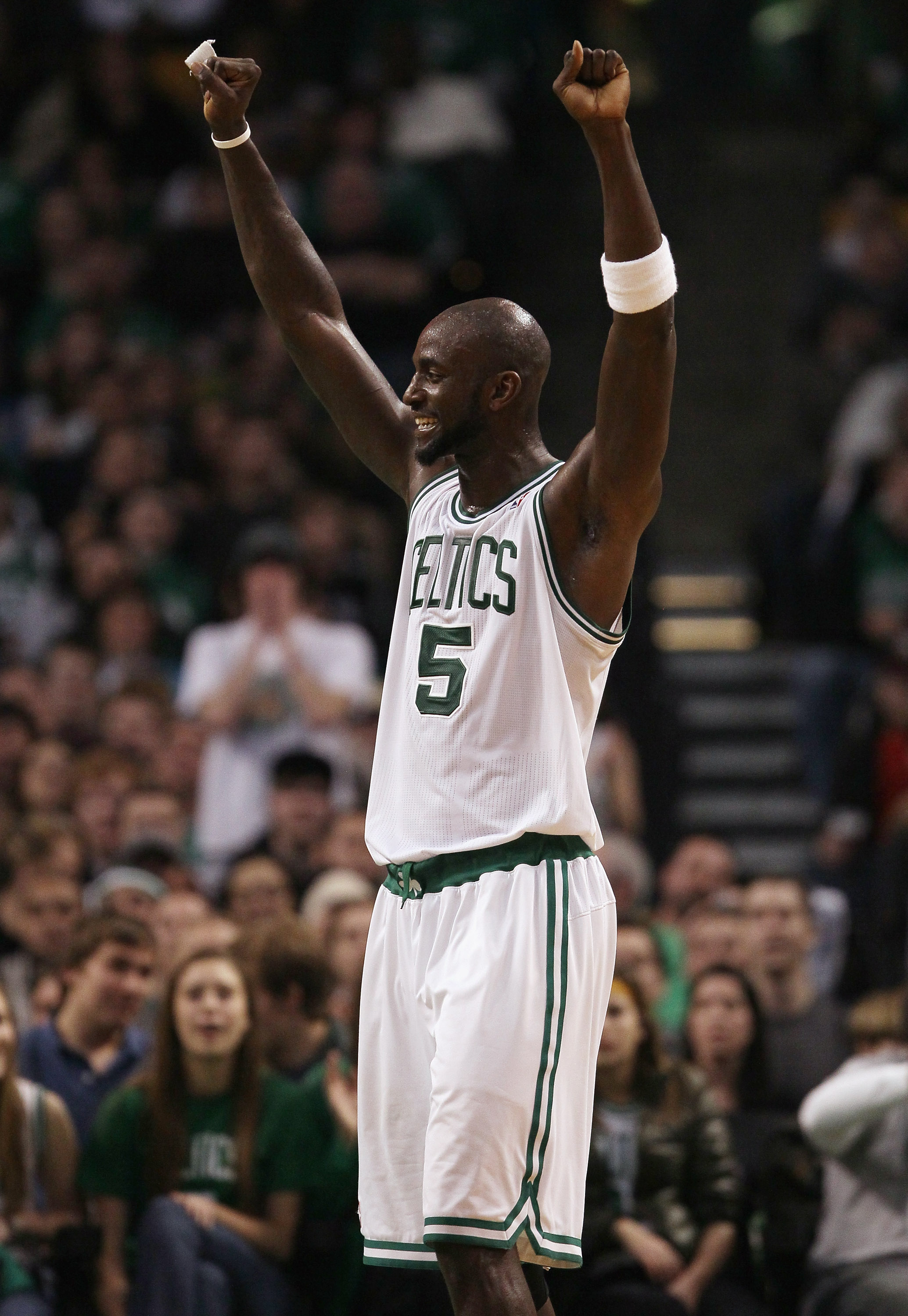 BOSTON, MA - JANUARY 21:  Kevin Garnett #5 of the Boston Celtics celebrates after teammate Ray Allen attempted to block a shot by the Utah Jazz on January 21, 2011 at the TD Garden in Boston, Massachusetts.  The Celtics defeated the Jazz 110-86. NOTE TO U