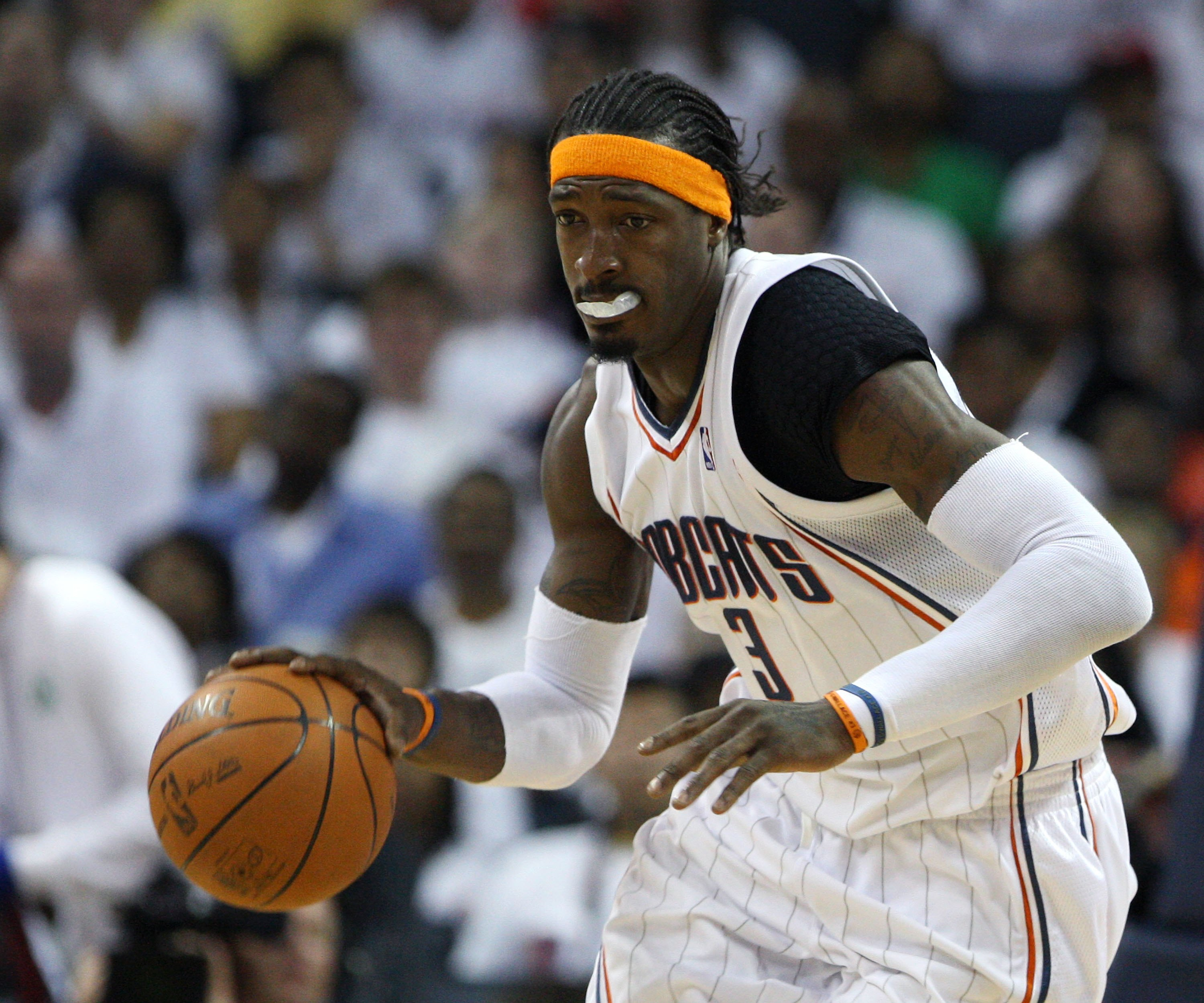 CHARLOTTE - APRIL 24:  Forward Gerald Wallace #3 of the Charlotte Bobcats dribbles with the ball during Game Three of the Eastern Conference Quarterfinals against the Orlando Magic during the 2010 NBA Playoffs at Time Warner Cable Arena on April 24, 2010