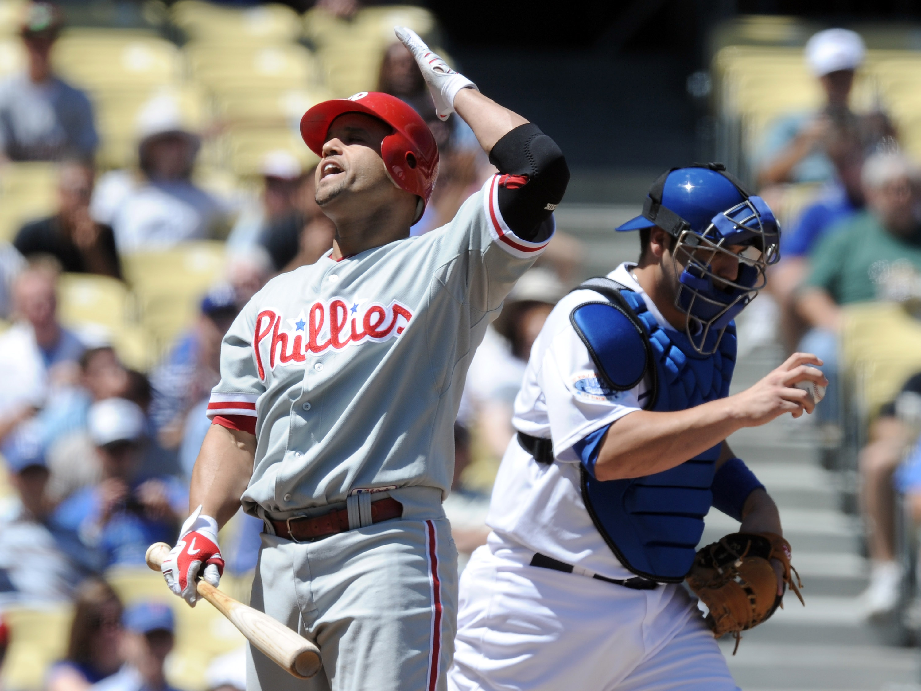 Phillies 2B Placido Polanco, upset after striking out.