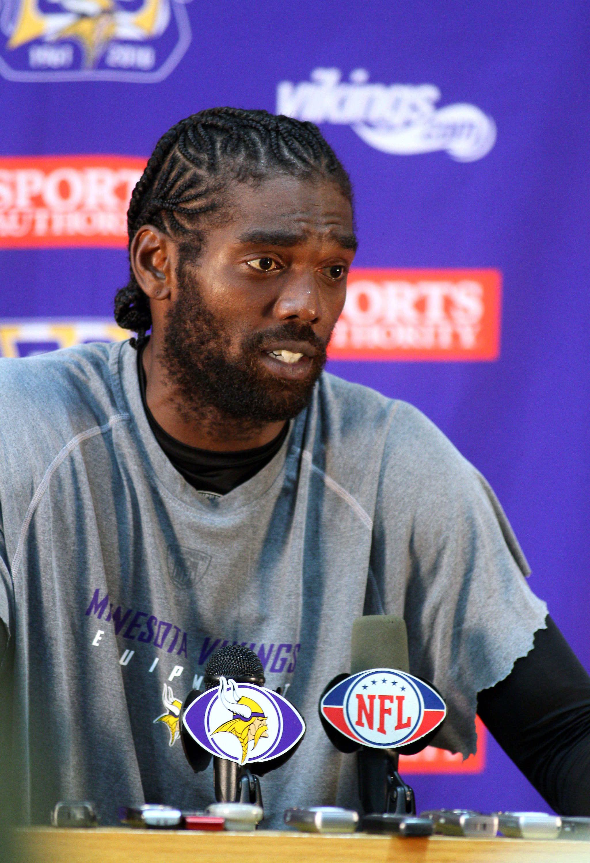 EDEN PRAIRIE, MN - OCTOBER 7:  Minnesota Vikings wide receiver Randy Moss answers questions from the media during a press conference at Winter Park on October 7, 2010 in Eden Prairie, Minnesota.  (Photo by Adam Bettcher/Getty Images)