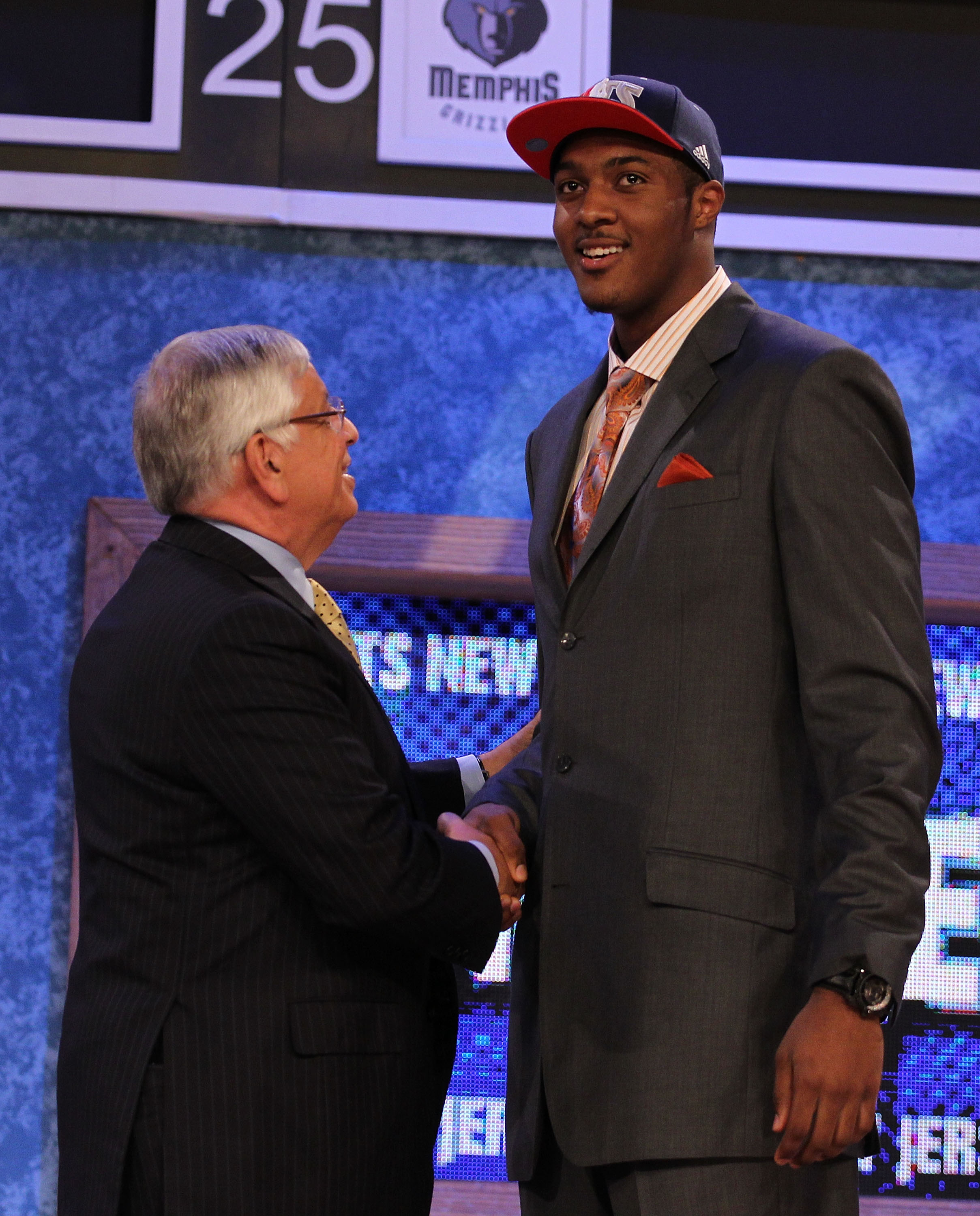 NEW YORK - JUNE 24:  Derrick Favors of Georgia State stands with NBA Commisioner David Stern after being drafted third overall by the New Jersey Nets at Madison Square Garden on June 24, 2010 in New York City.  NOTE TO USER: User expressly acknowledges an