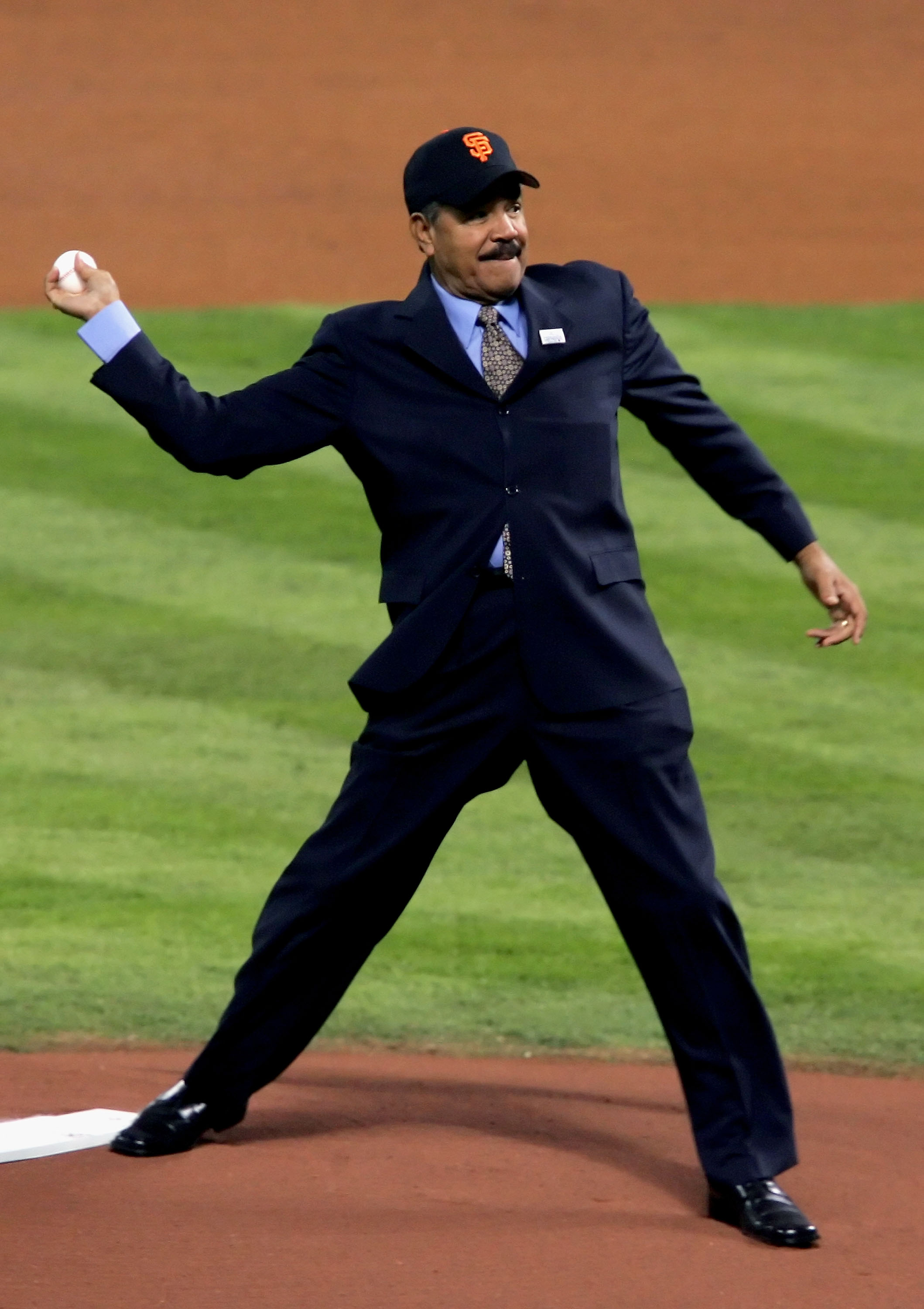 HOUSTON - OCTOBER 26:  Juan Marichal of the Major League Baseball Latino Legends Team throws out the first pitch before the start of Game Four of the 2005 Major League Baseball World Series between the Chicago White Sox and the Houston Astros at Minute Ma
