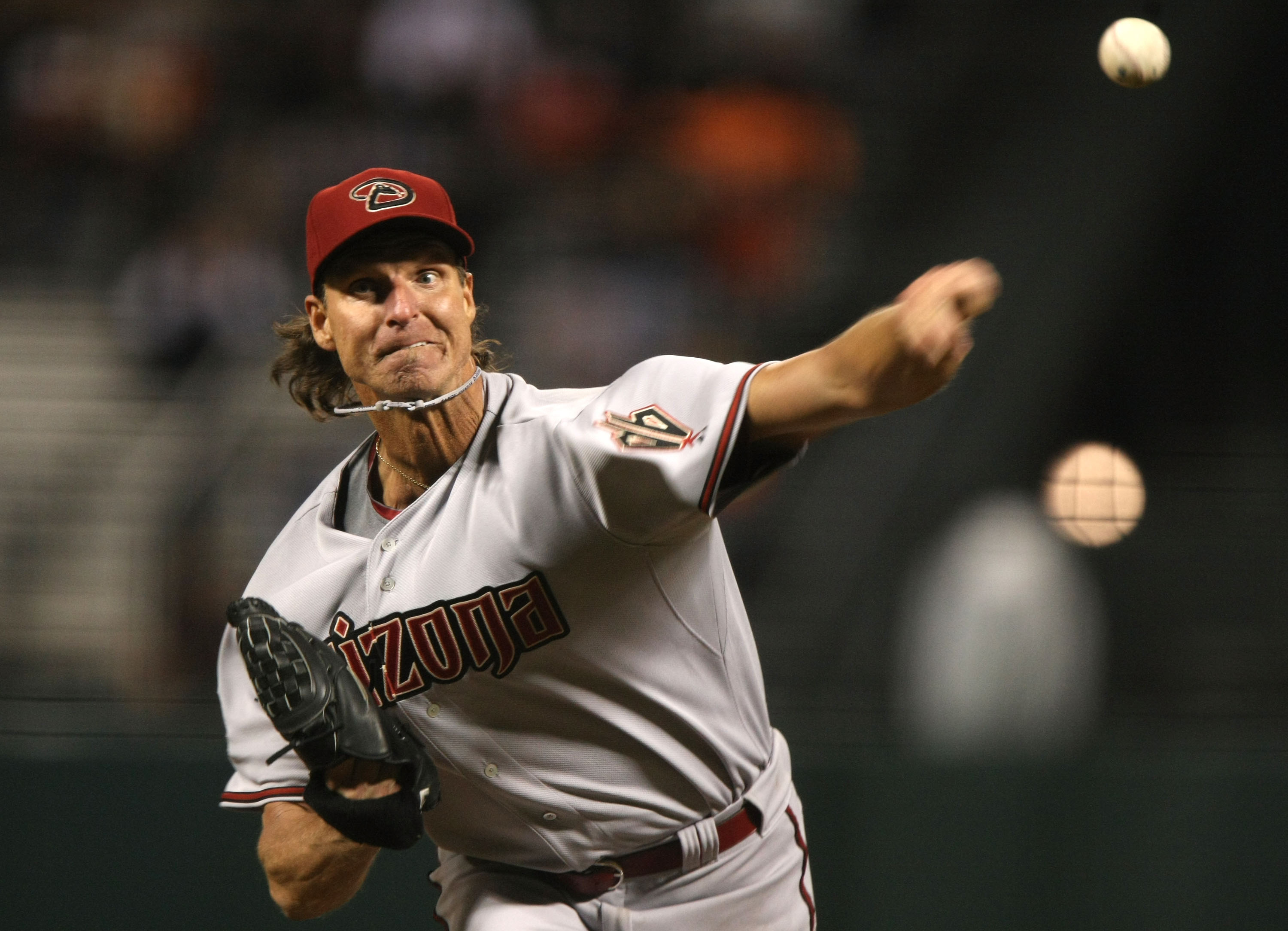 SAN FRANCISCO - APRIL 14:  Randy Johnson #51 of the Arizona Diamondbacks pitches against the San Francisco Giants during a Major League Baseball game on March 14, 2008 at AT&T Park in San Francisco, California.  (Photo by Jed Jacobsohn/Getty Images)
