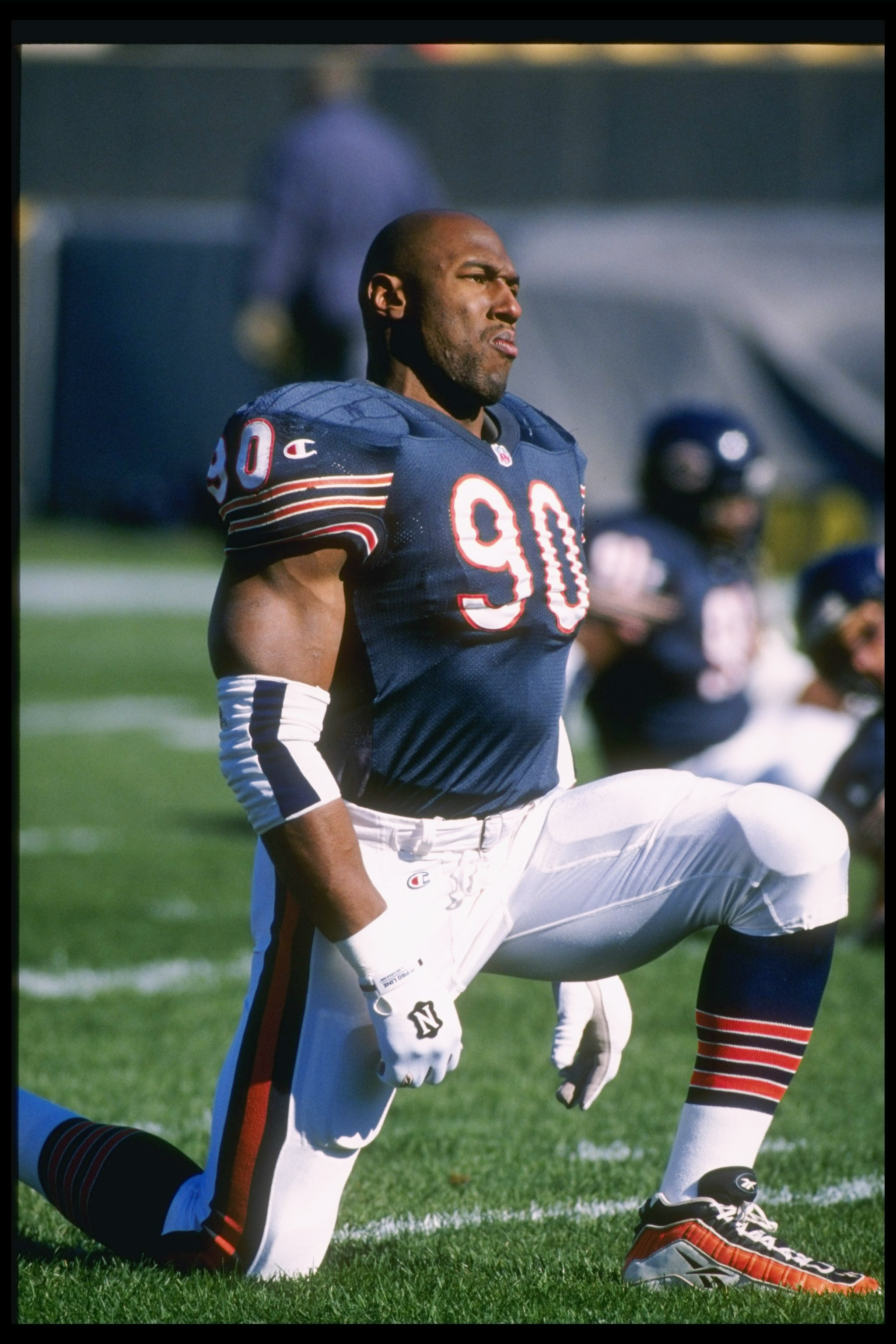 3 Nov 1996:  Defensive lineman Alonzo Spellman of the Chicago Bears looks on during a game against the Tampa Bay Buccaneers at Soldier Field in Chicago, Illinois.  The Bears won the game, 13-10. Mandatory Credit: Jonathan Daniel  /Allsport