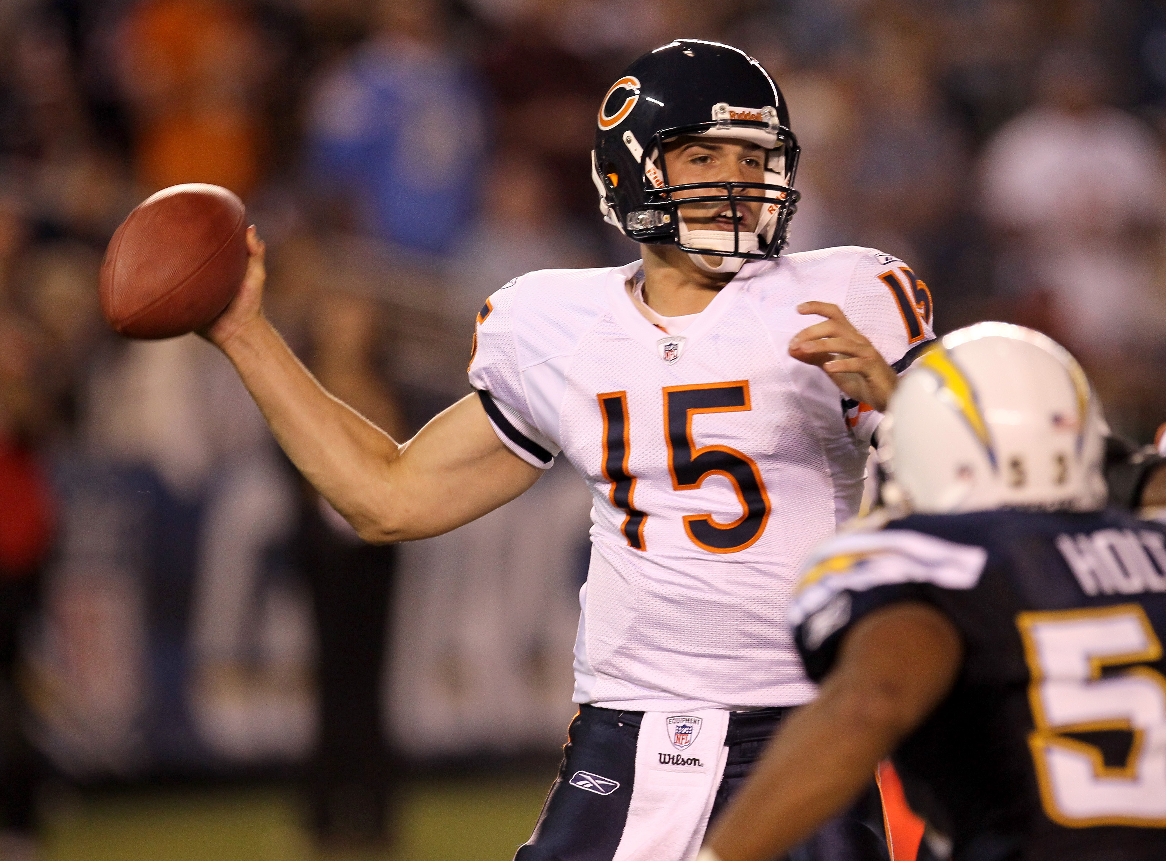 SAN DIEGO - AUGUST 14:  Quarterback Dan LeFevour  #15 of the Chicago Bears throws a pass against the San Diego Chargers on August 14, 2010 at Qualcomm Stadium in San Diego, California.   The Chargers won 25-10.  (Photo by Stephen Dunn/Getty Images)